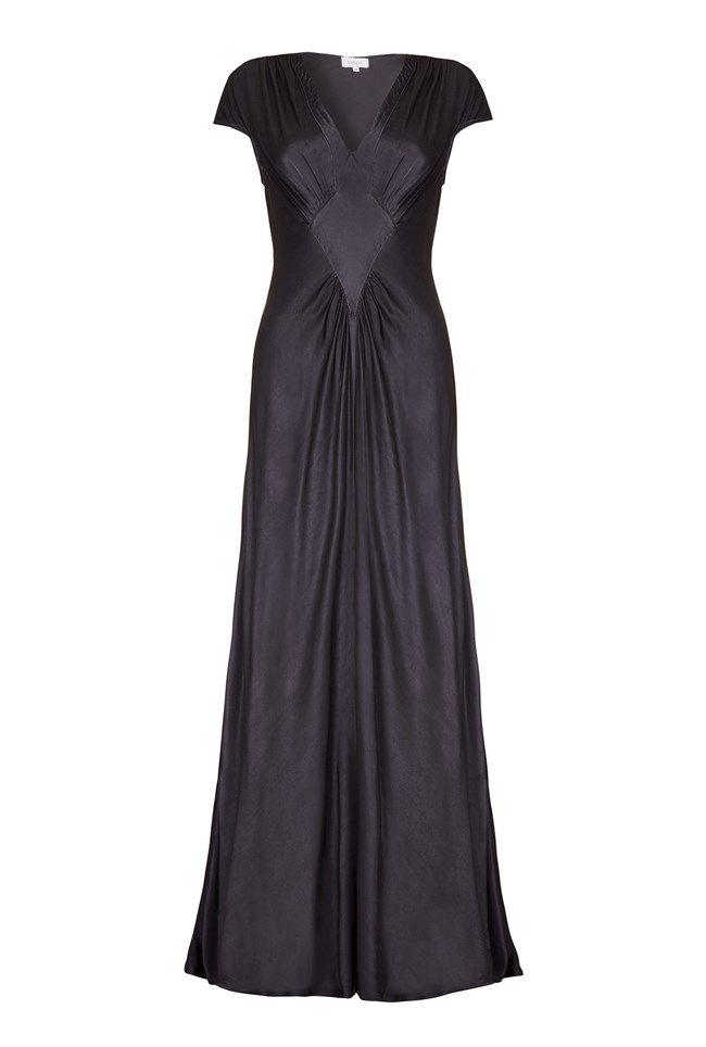 Iris Charcoal Satin Occasion Dress