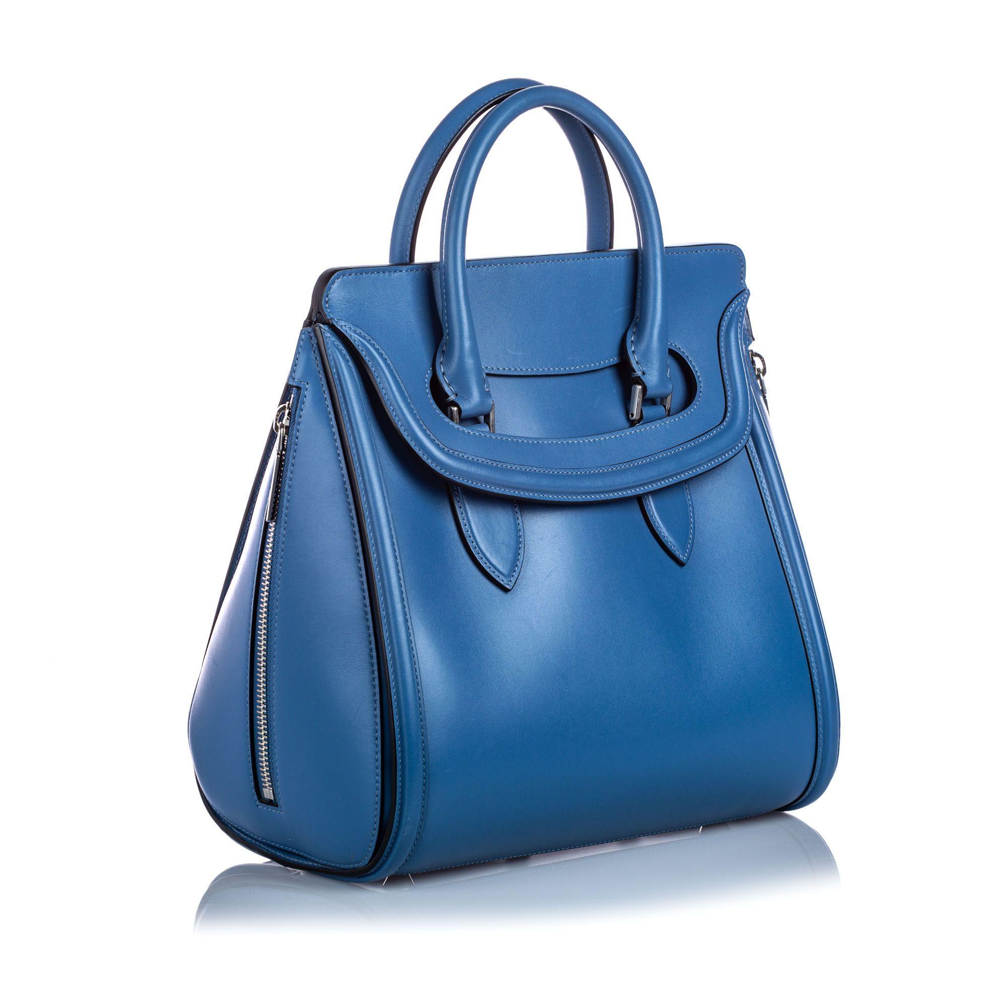 Vintage Alexander McQueen Large Leather Heroine Handbag Blue