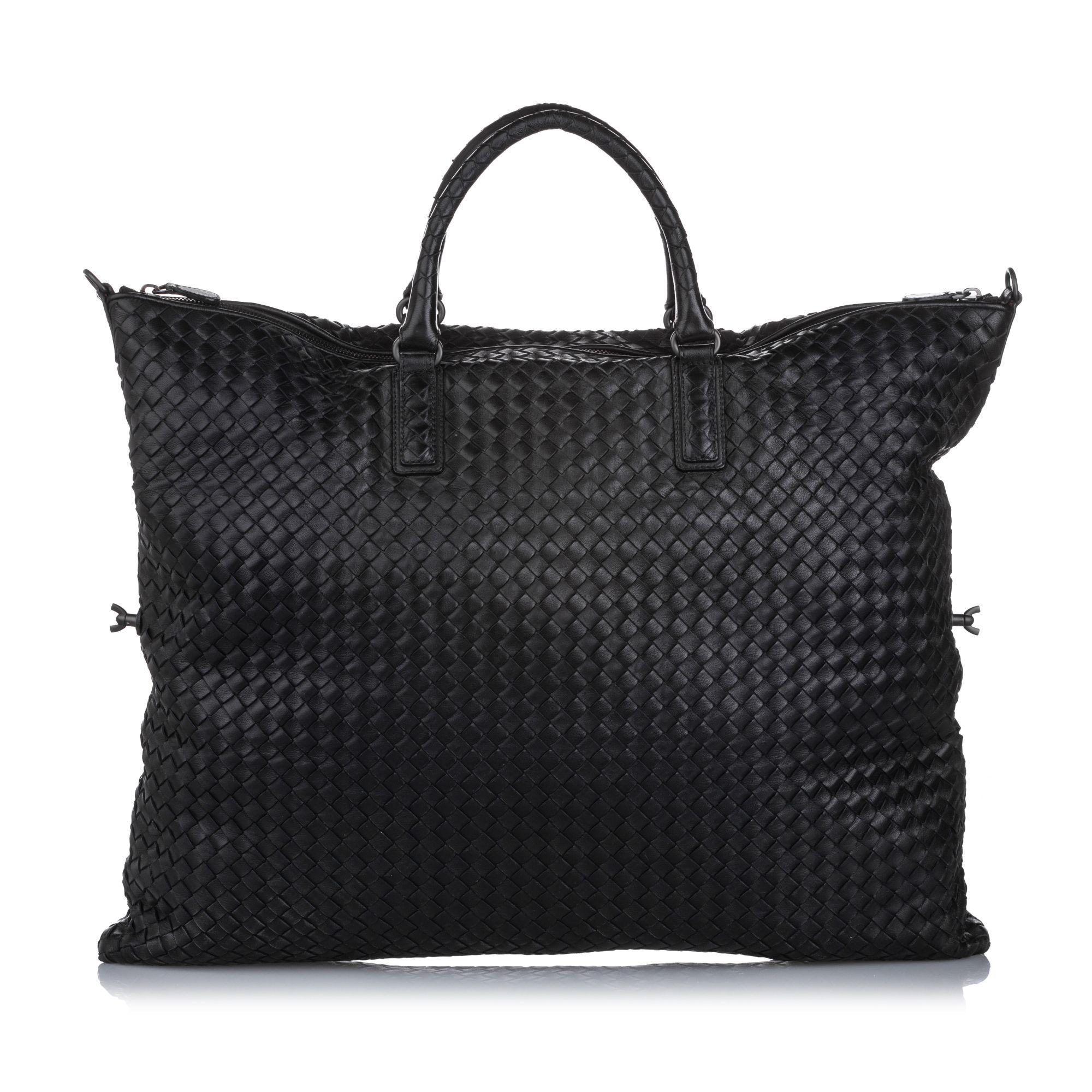 Vintage Bottega Veneta Maxi Intrecciato Convertible Travel Bag Black