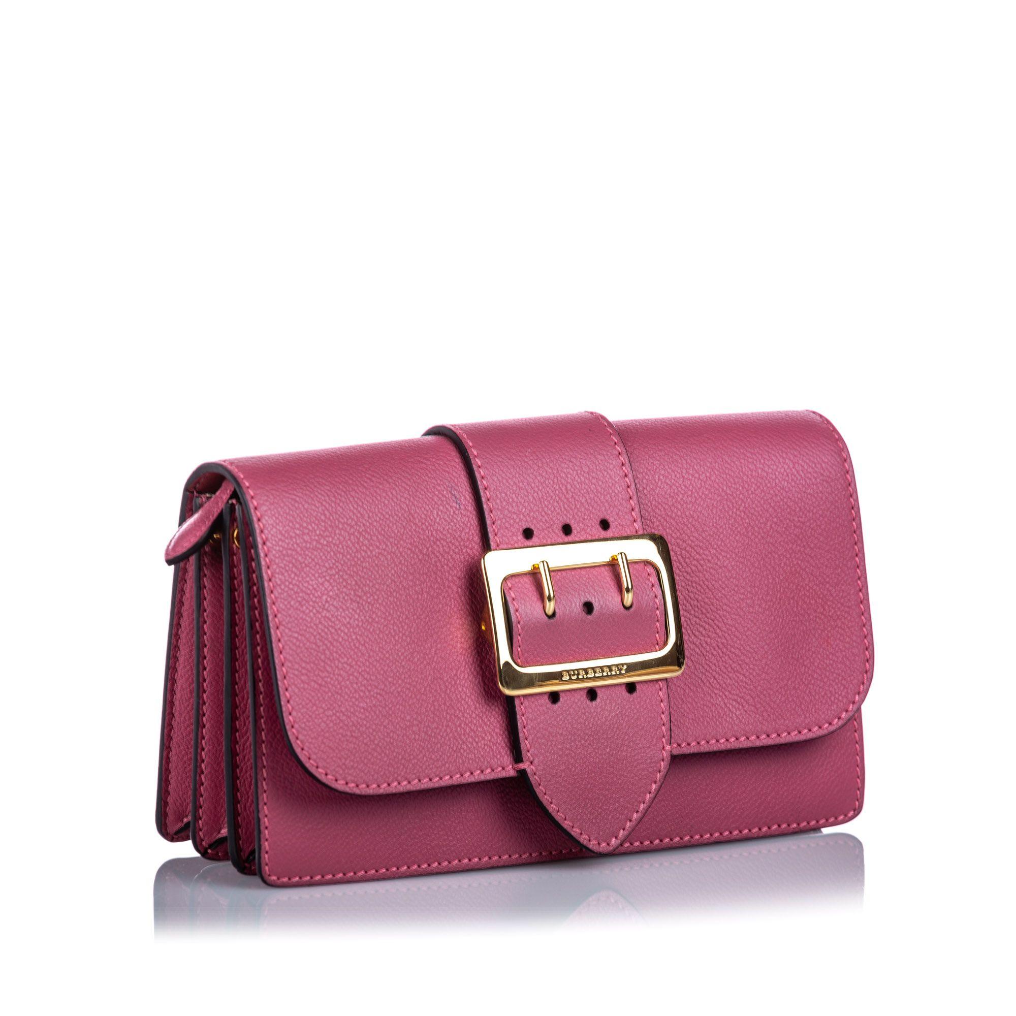Vintage Burberry Leather Buckle Crossbody Bag Pink