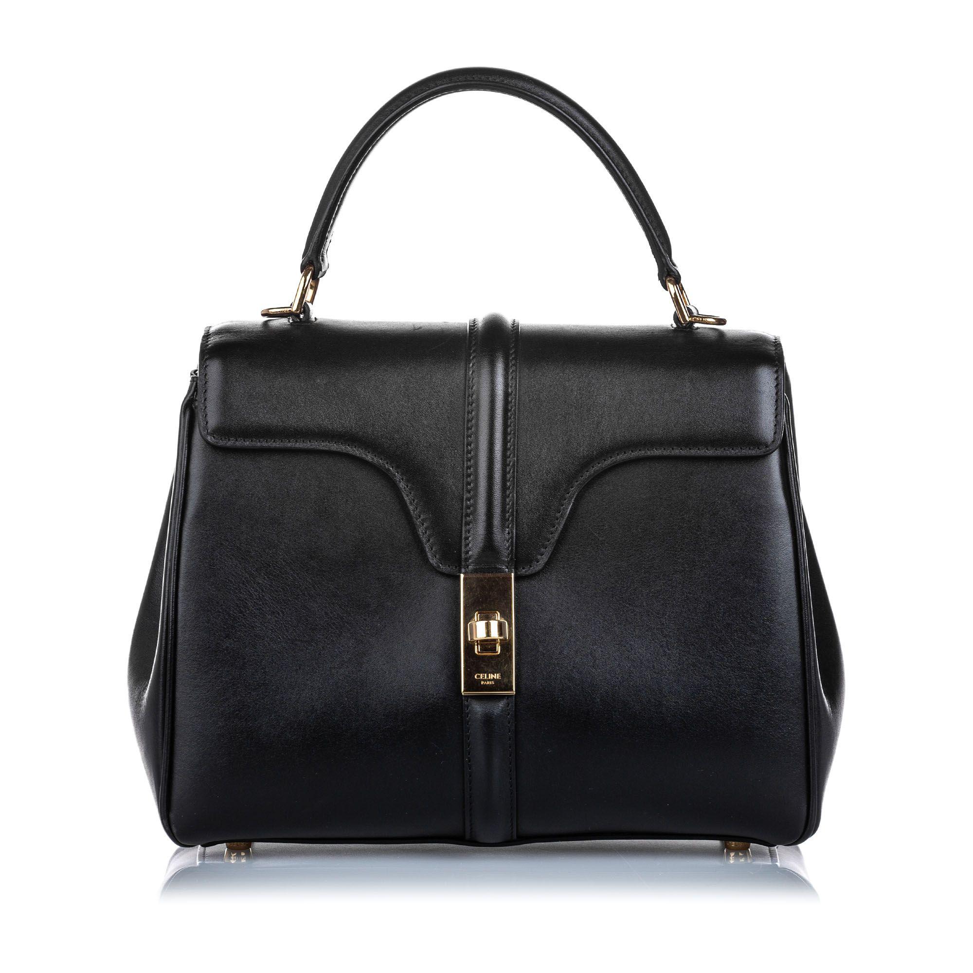 Vintage Celine Leather Small 16 Bag Black