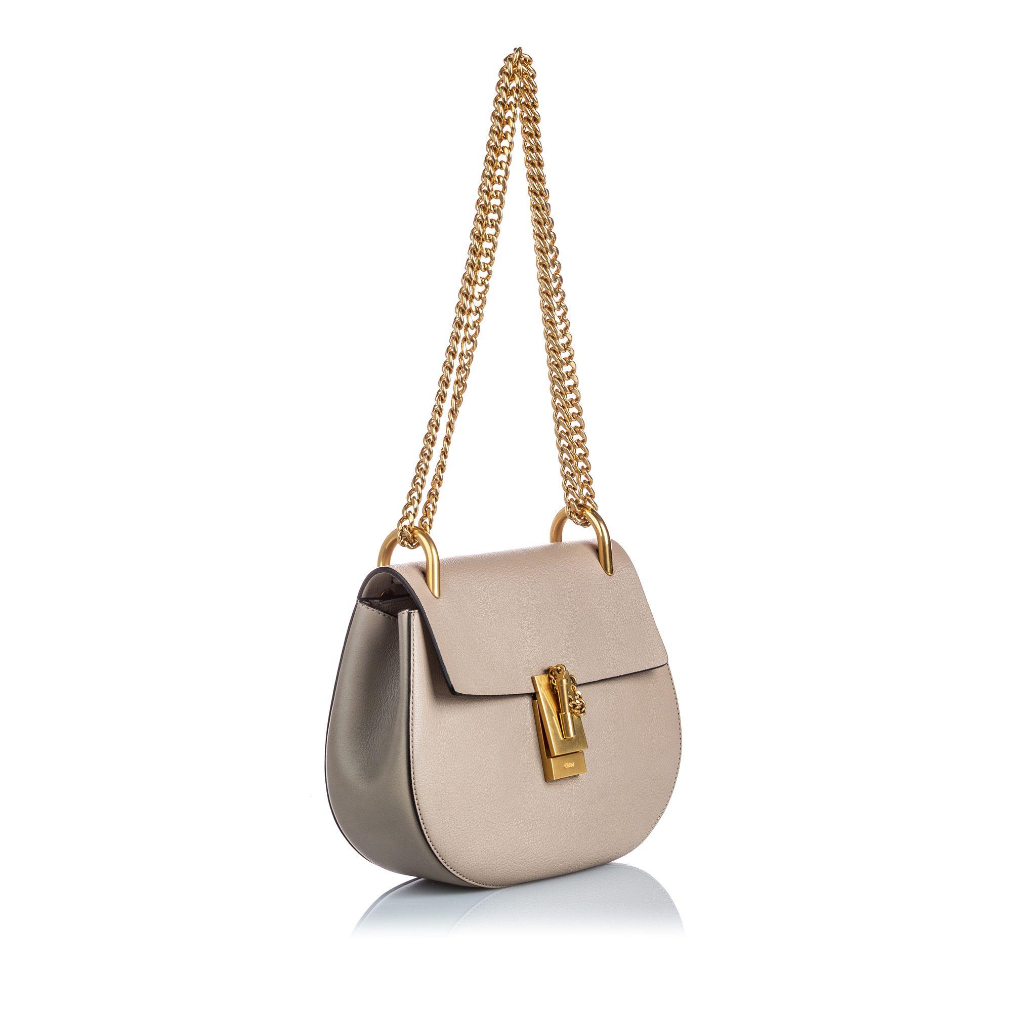 Vintage Chloe Leather Drew Crossbody Bag Gray