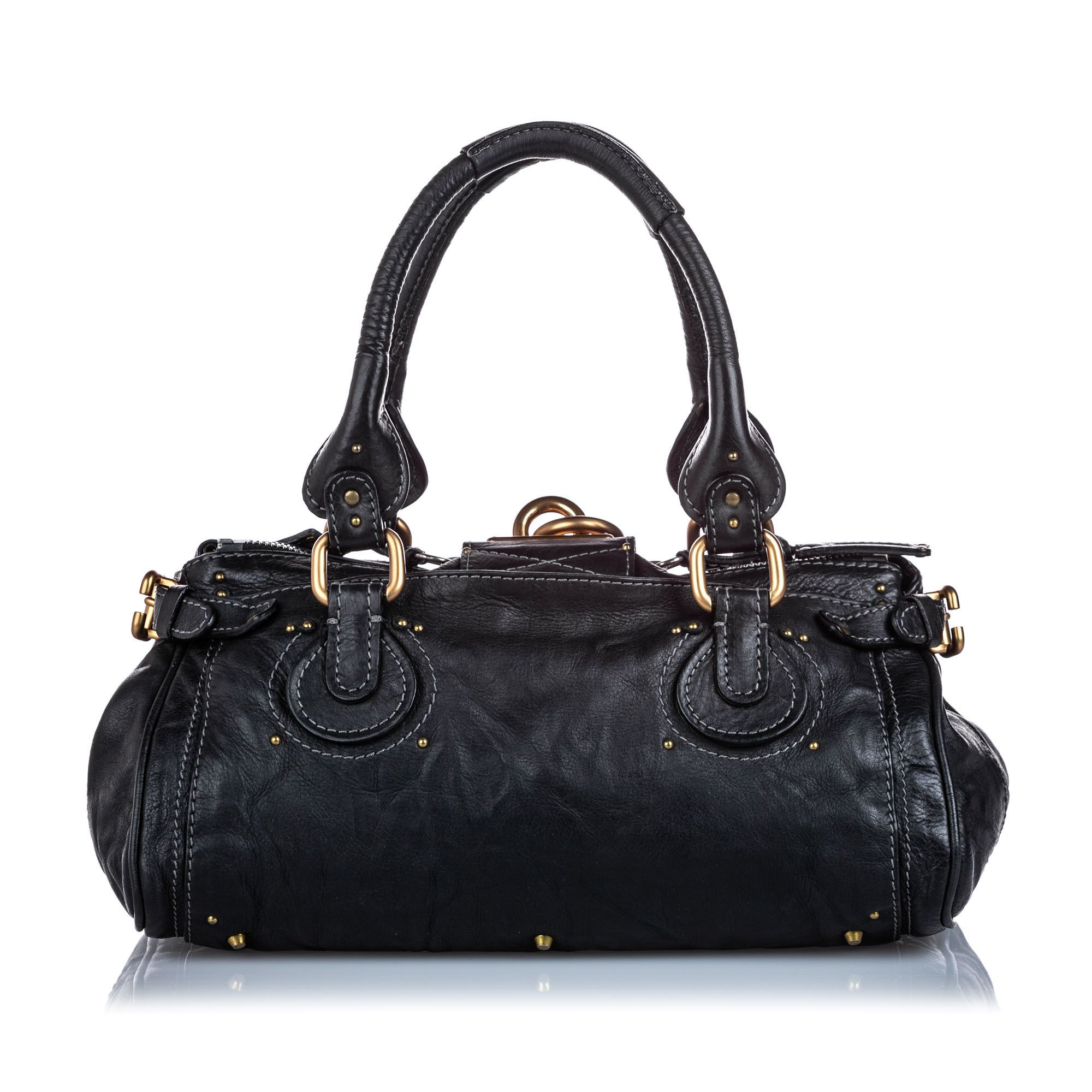 Vintage Chloe Leather Paddington Handbag Black