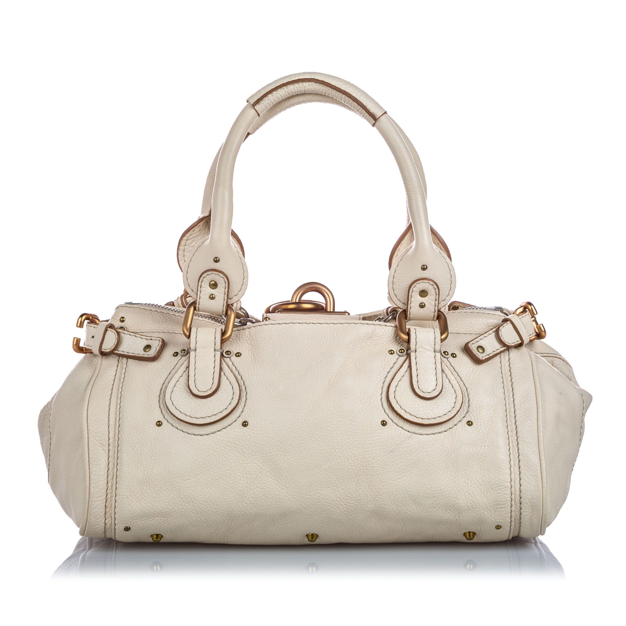 Vintage Chloe Leather Paddington Handbag White