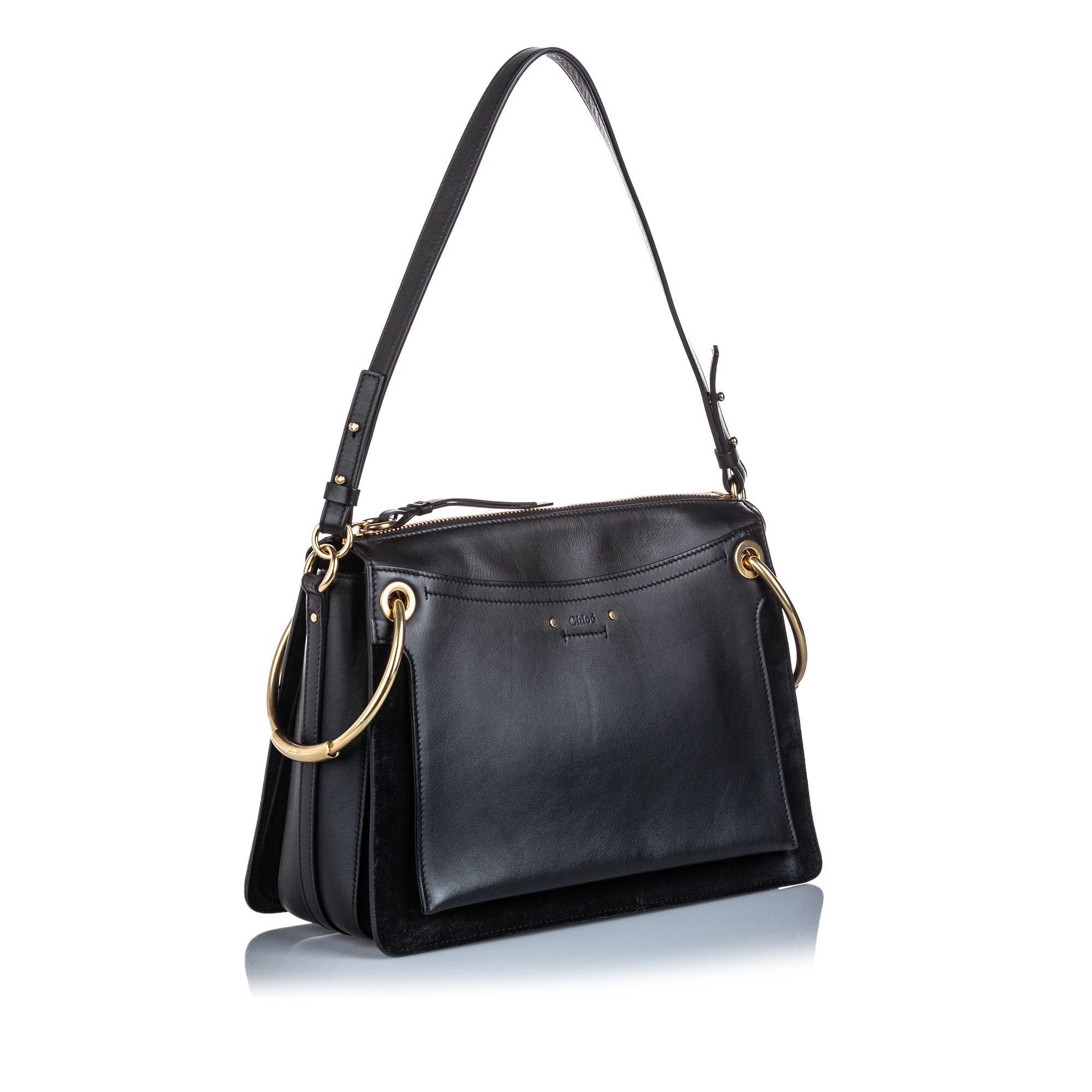 Vintage Chloe Medium Leather Roy Satchel Black