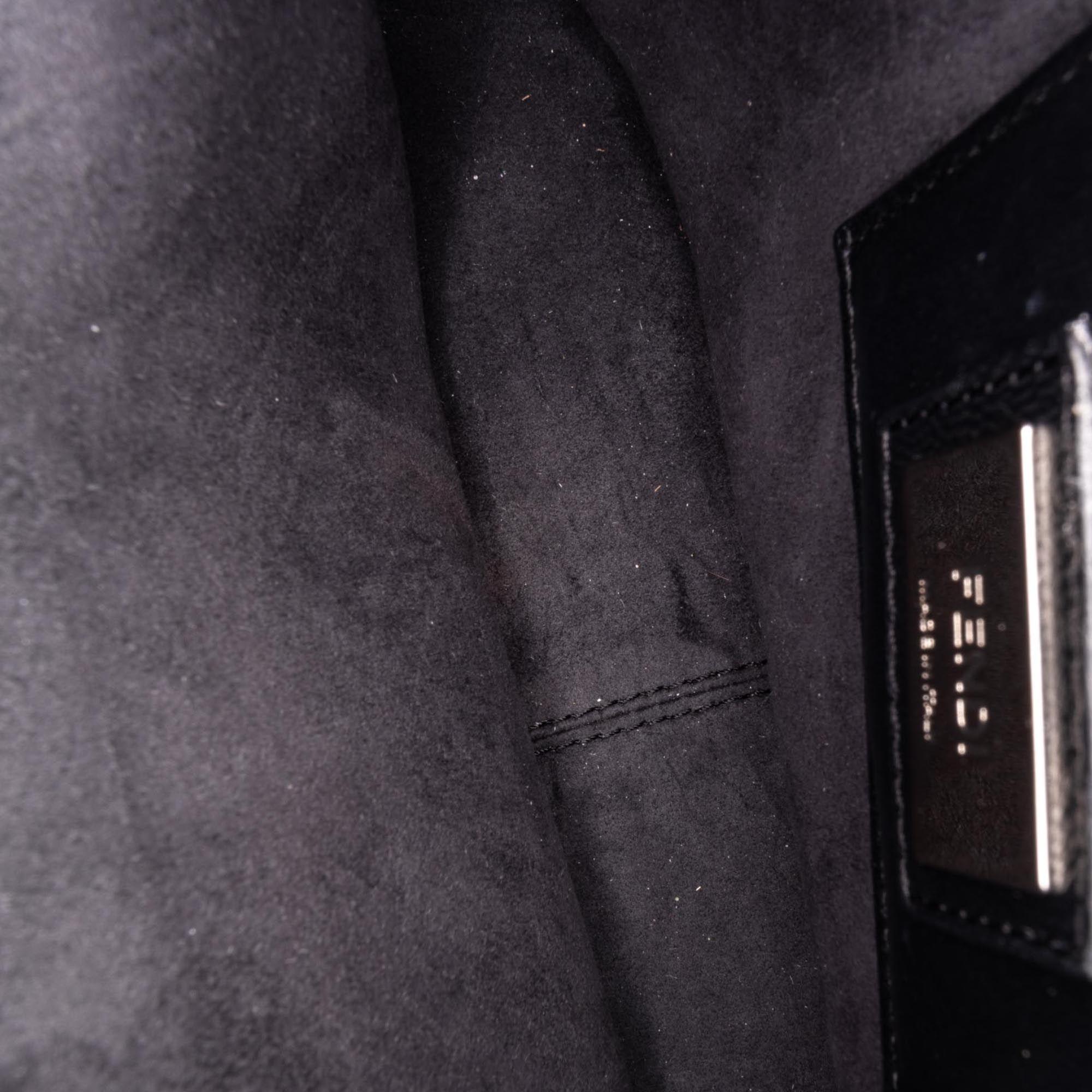 Vintage Fendi Leather Be Baguette Crossbody Bag Gray