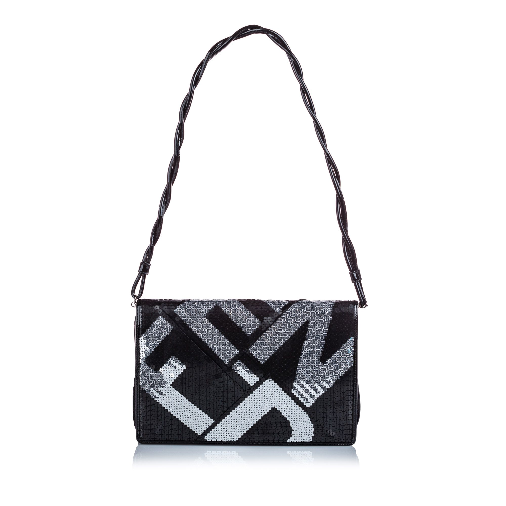 Vintage Fendi Sequined Crossword Shoulder Bag Black
