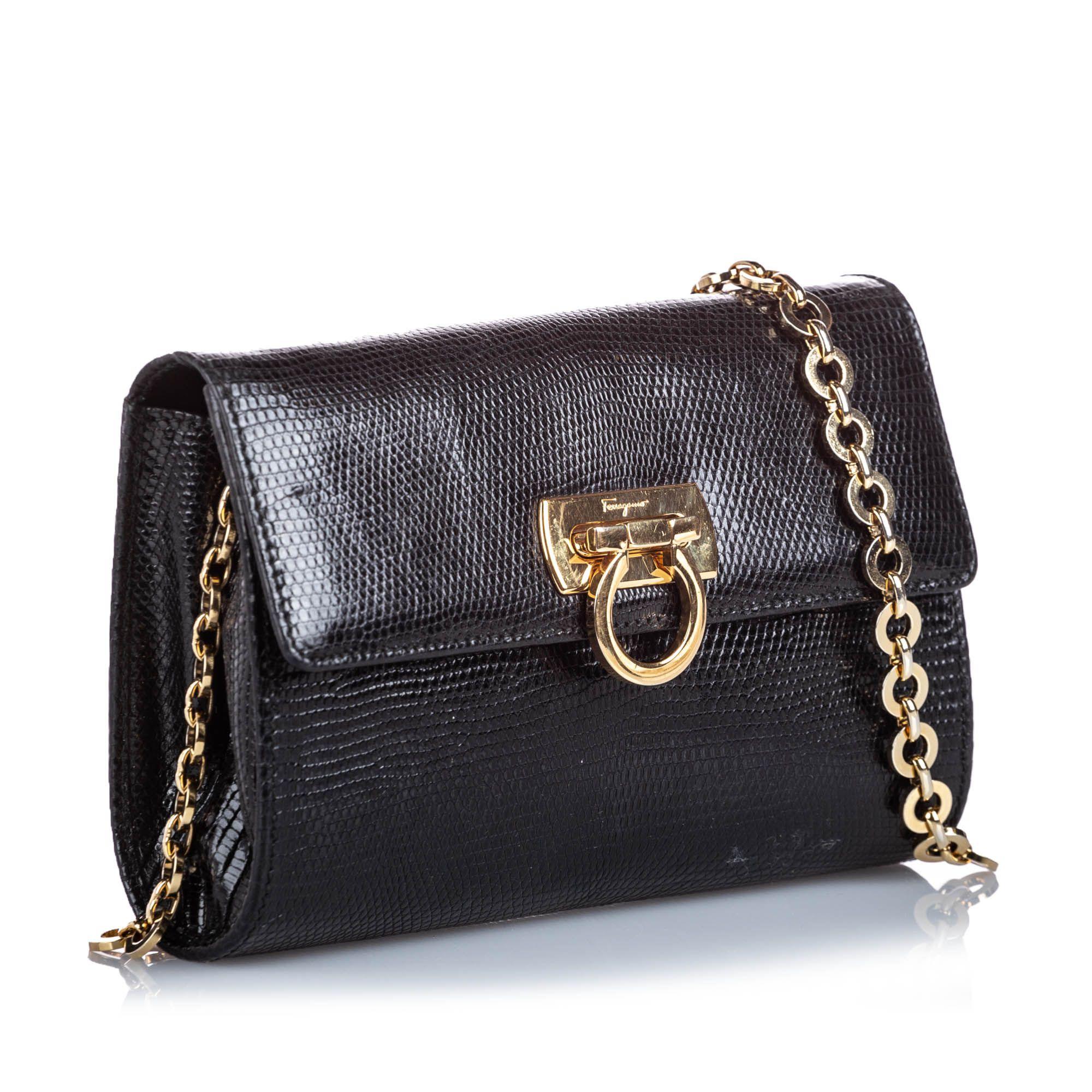 Vintage Ferragamo Lizard Leather Norina Black