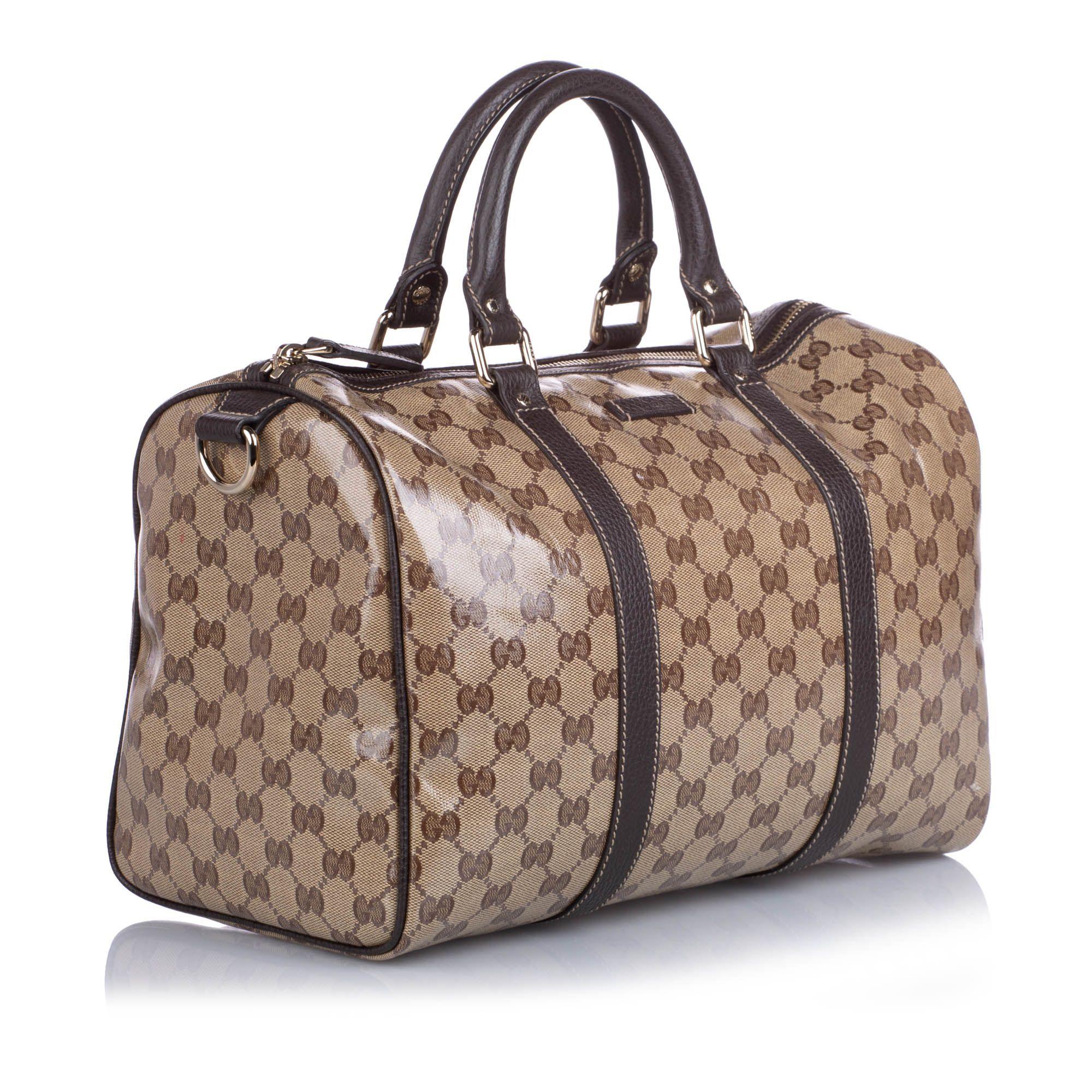 Vintage Gucci GG Crystal Boston Bag Brown