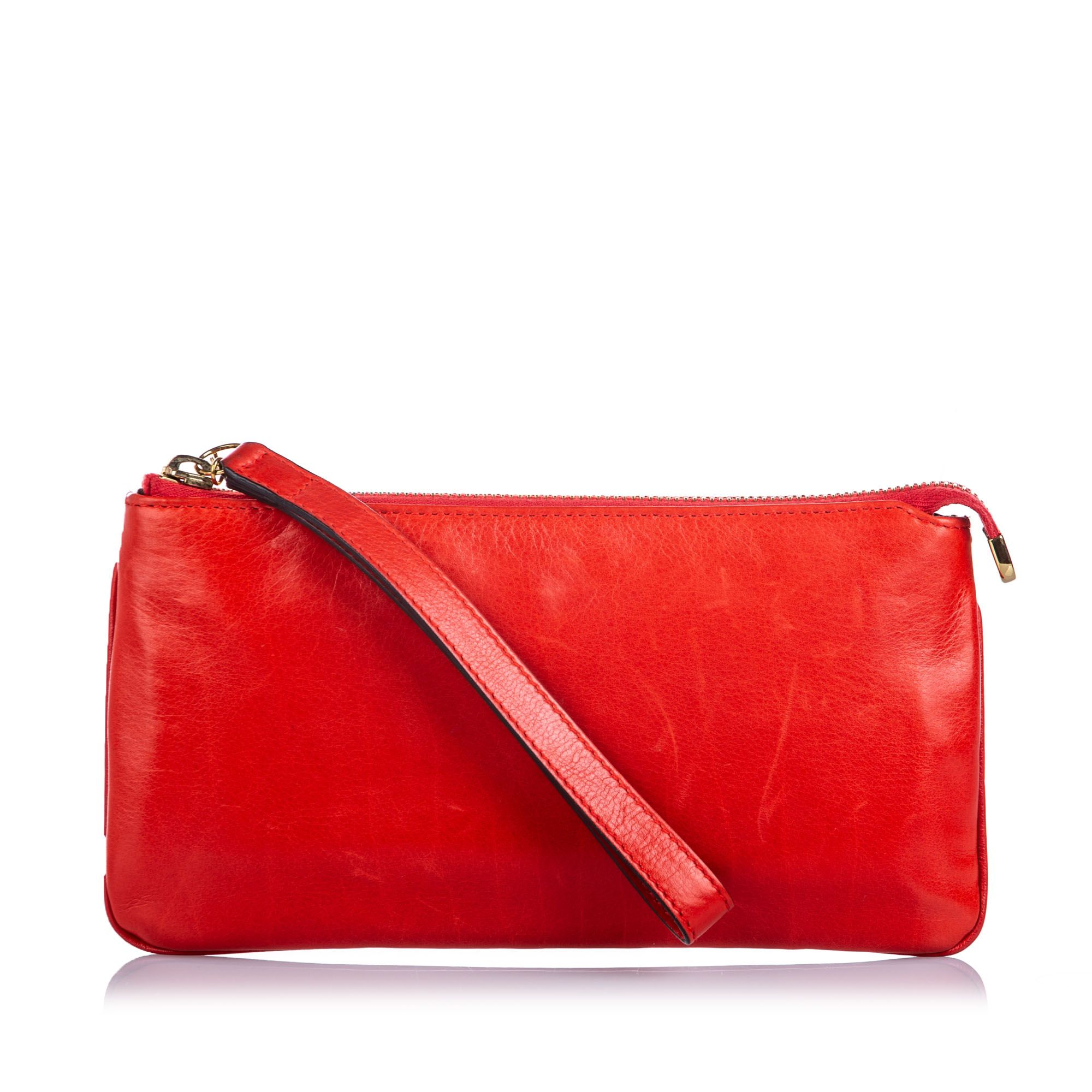 Vintage Gucci Leather Wristlet Red