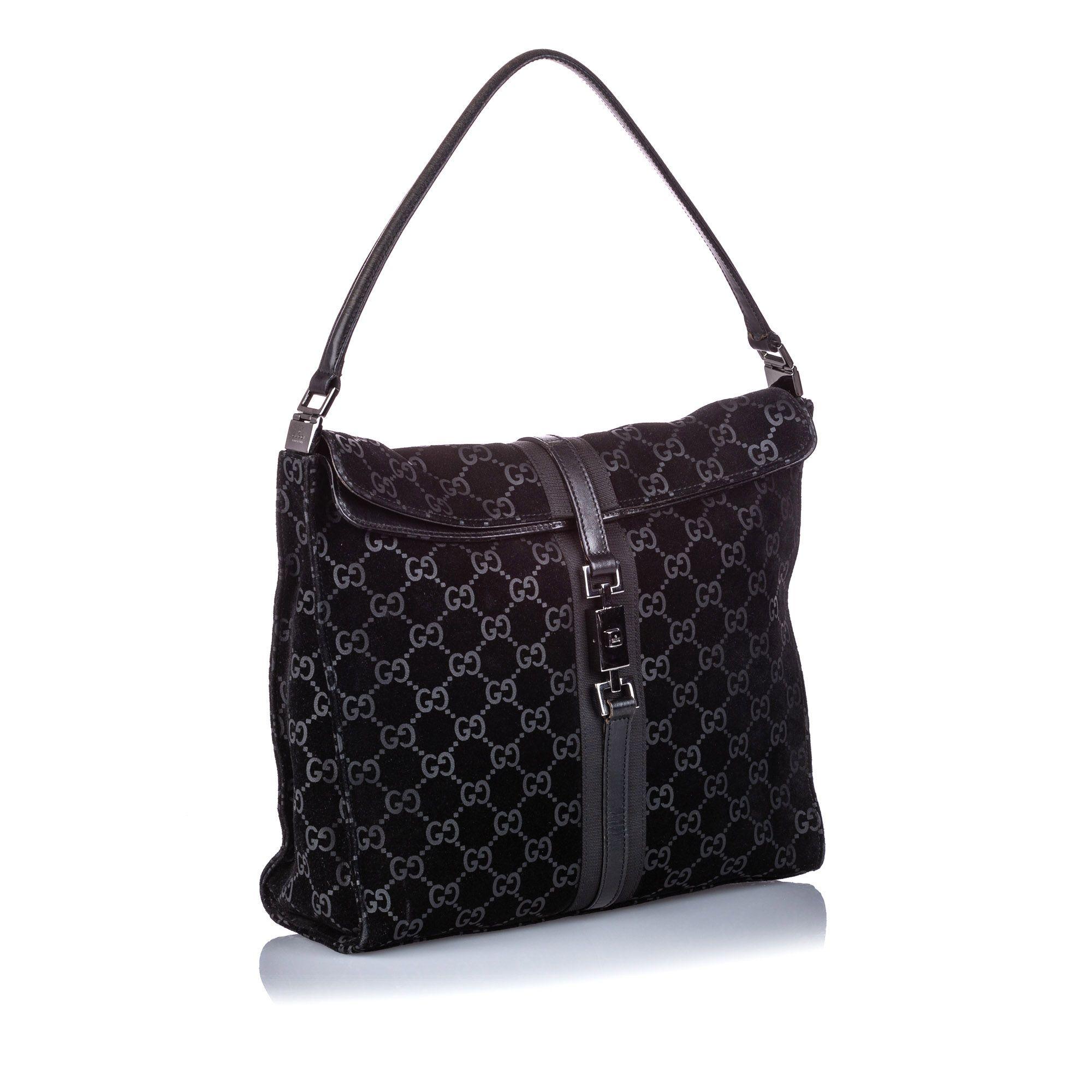 Vintage Gucci Guccissima Suede Jackie Flap Bag Black