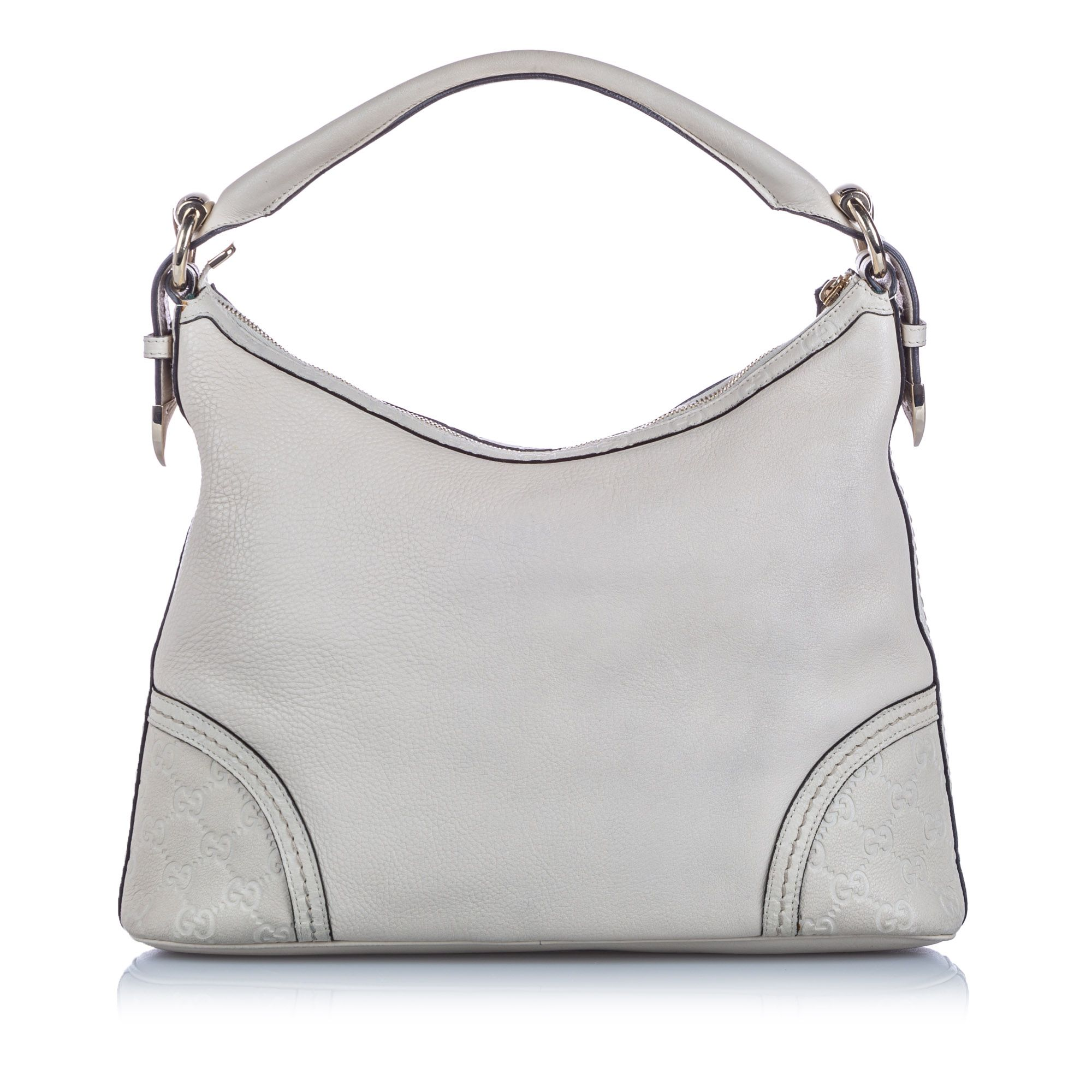 Vintage Gucci Guccissima Leather Signoria Shoulder Bag White