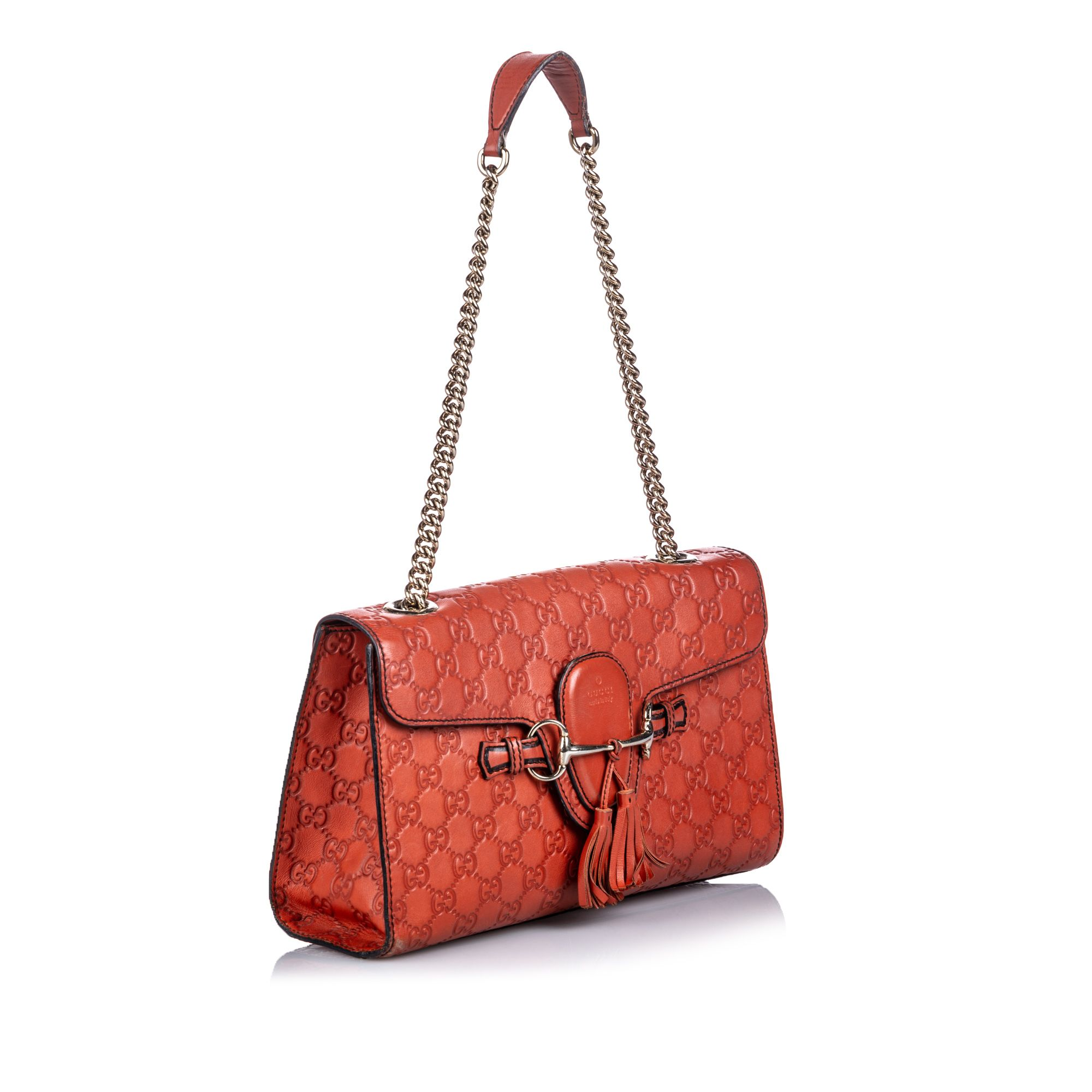 Vintage Gucci Guccissima Leather Emily Shoulder Bag Red