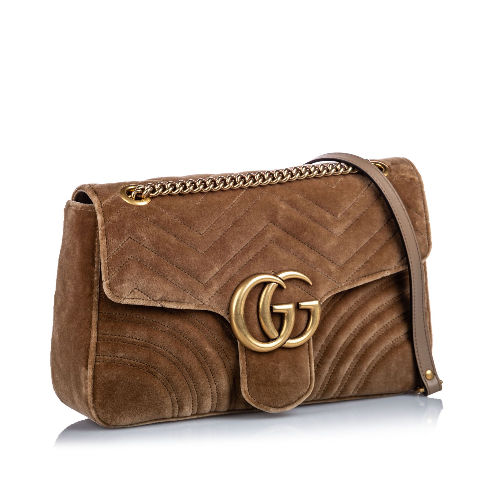 Vintage Gucci Velour Marmont Shoulder Bag Brown