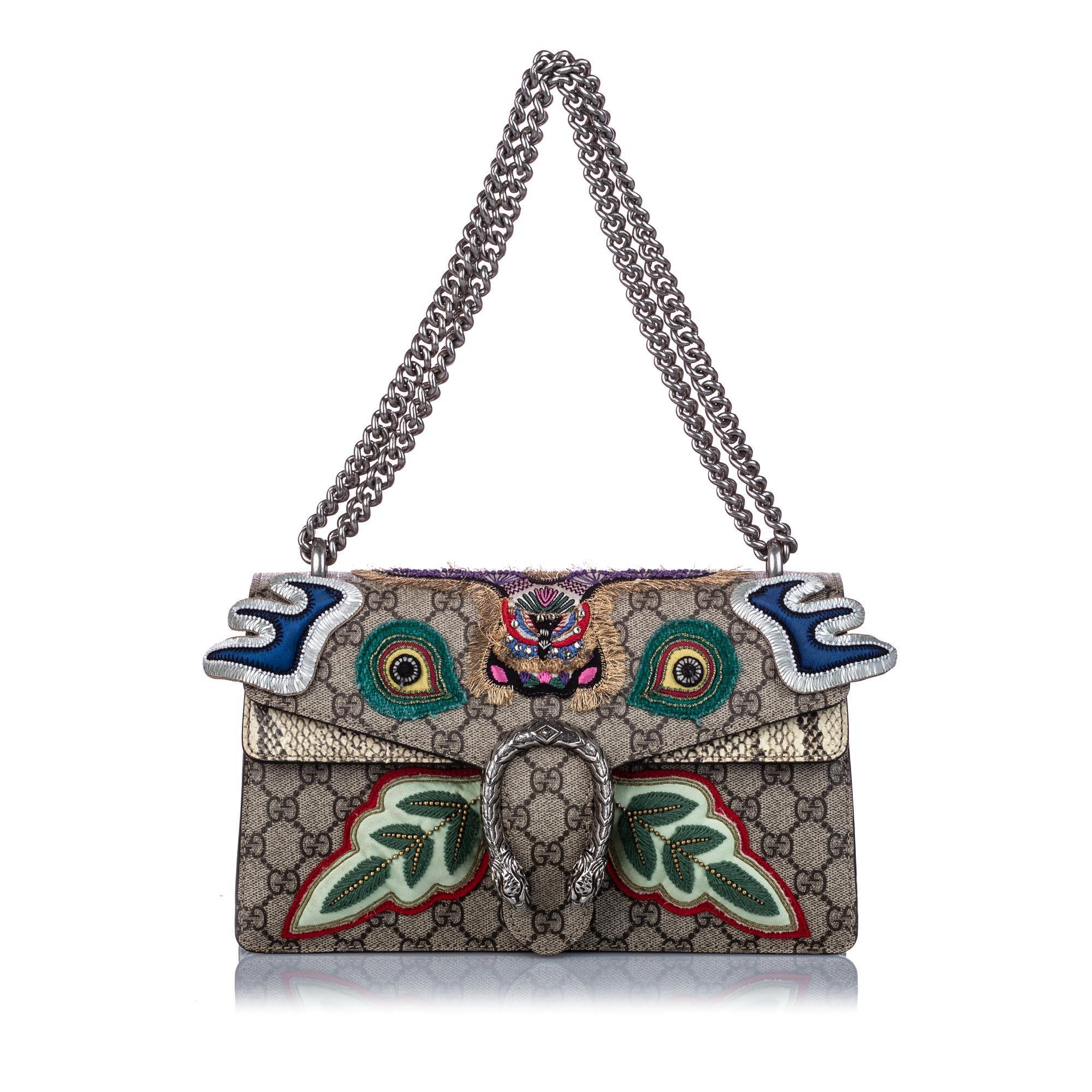 Vintage Gucci Small GG Supreme Embroidered Dionysus Shoulder Bag Brown