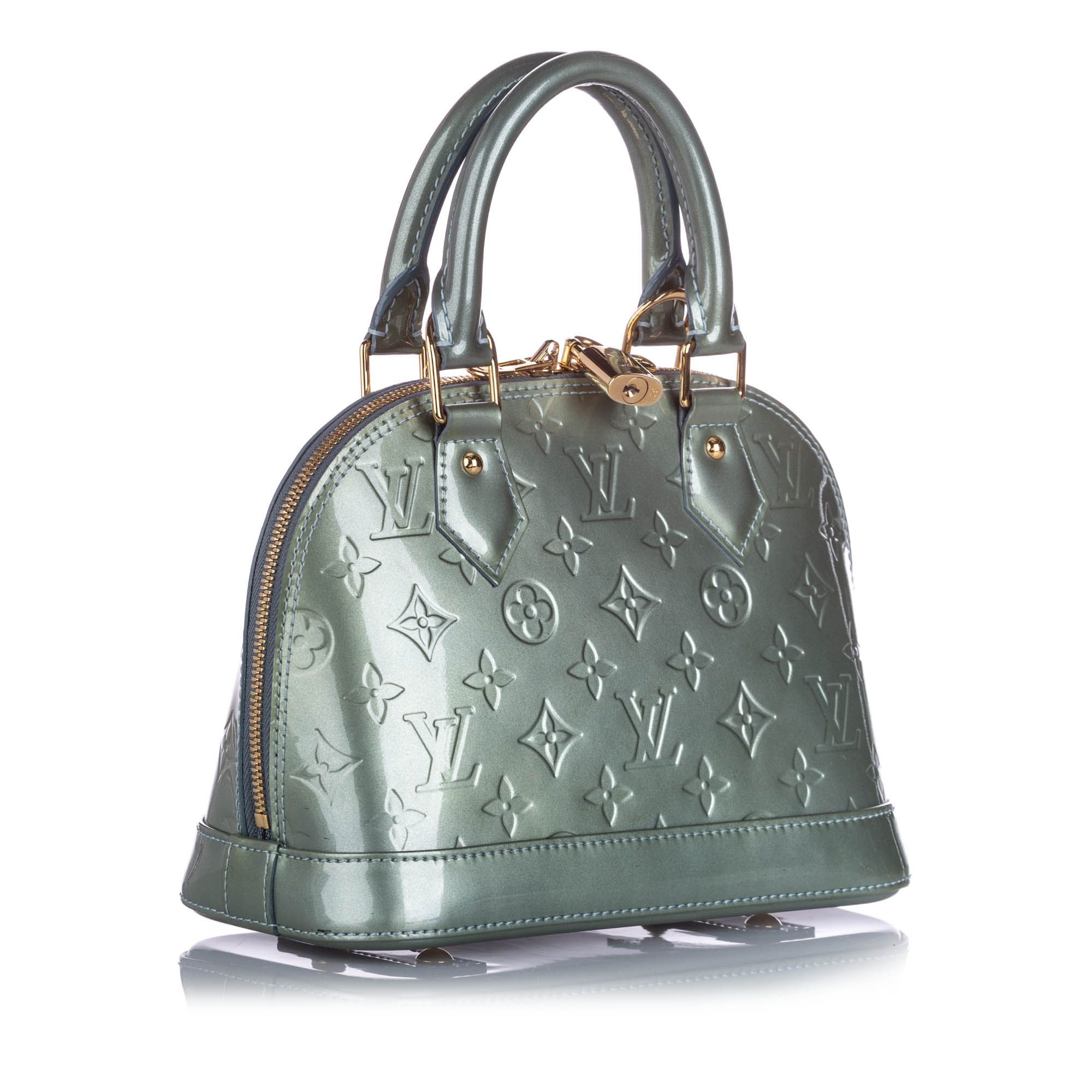 Vintage Louis Vuitton Vernis Alma BB with Strap Gray