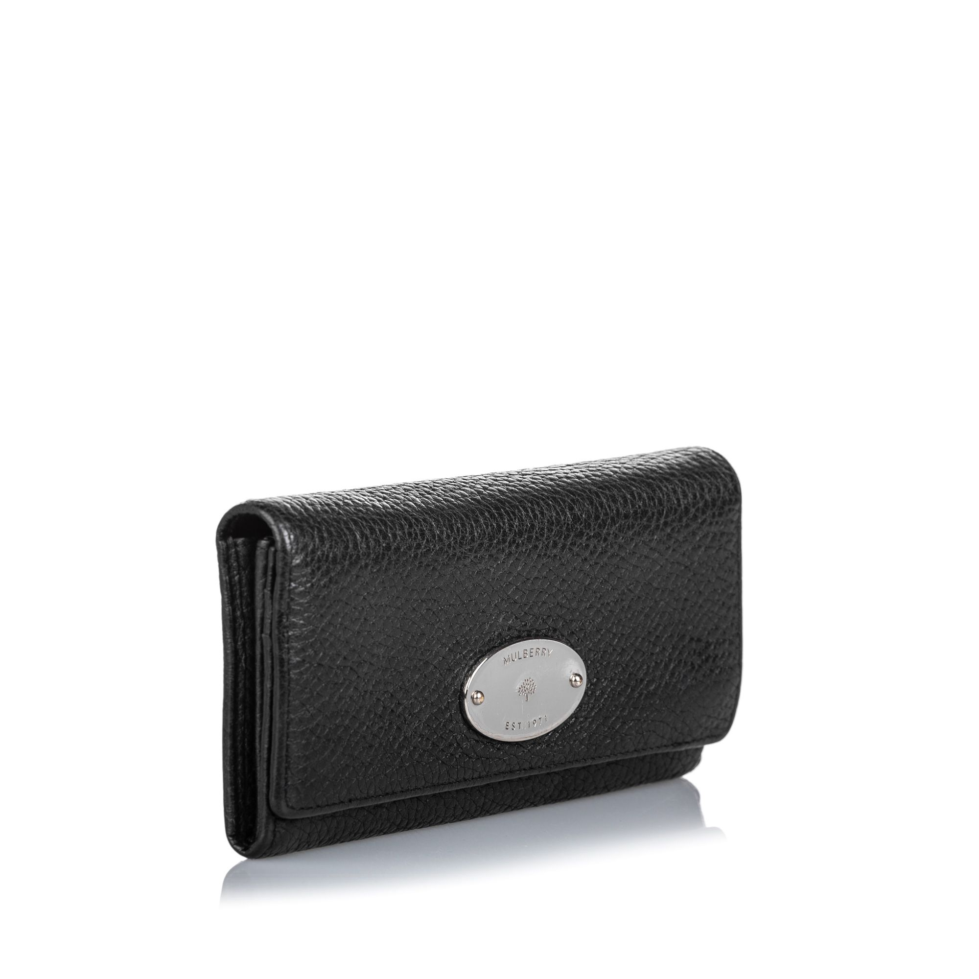 Vintage Mulberry Leather Long Wallet Black