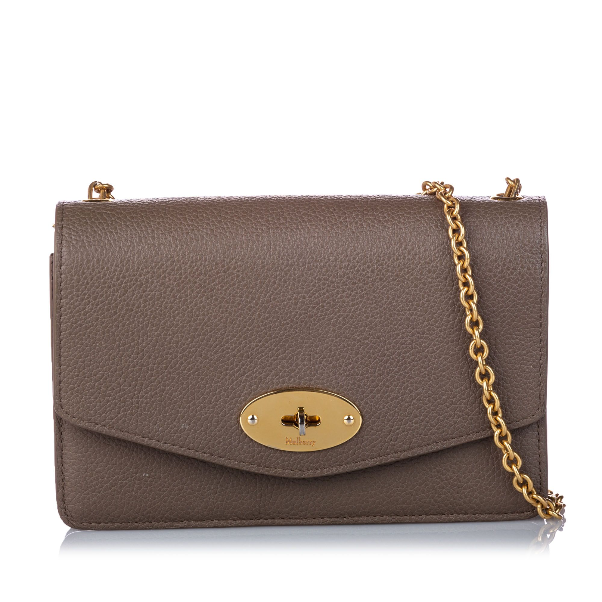 Vintage Mulberry Bayswater Leather Wallet on Chain Brown