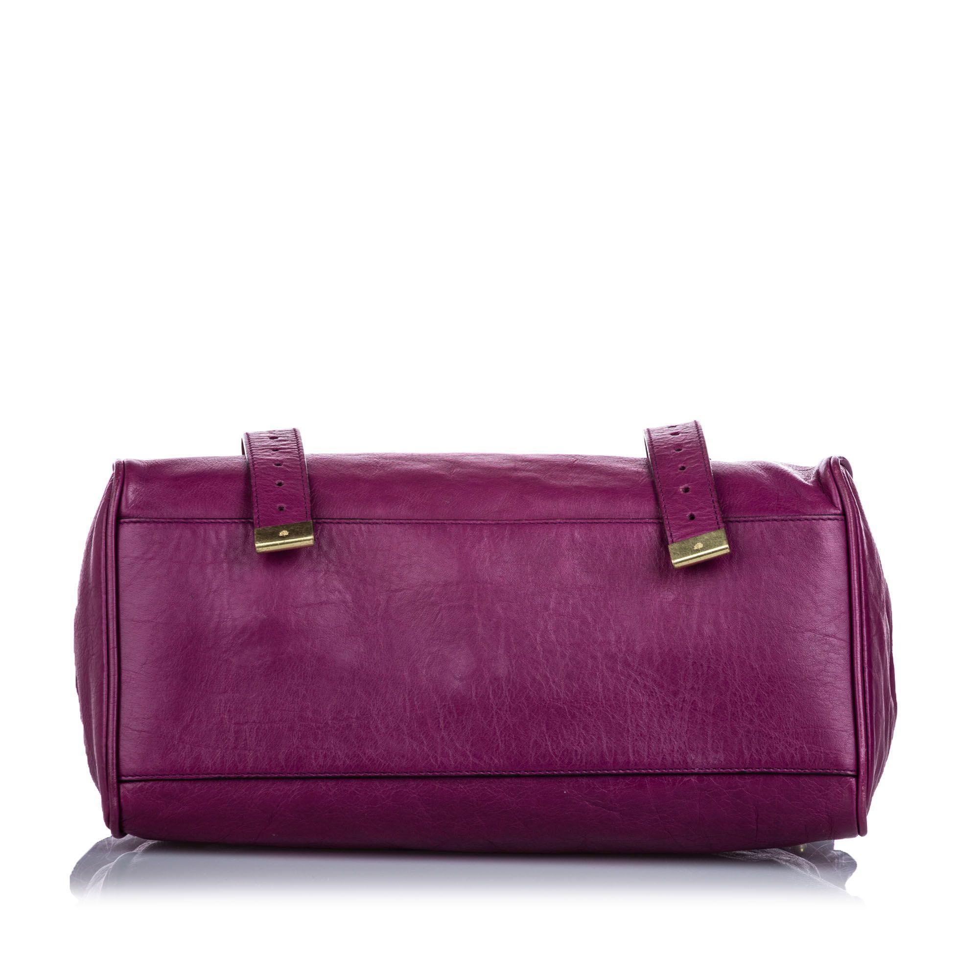 Vintage Mulberry Leather Alexa Satchel Purple