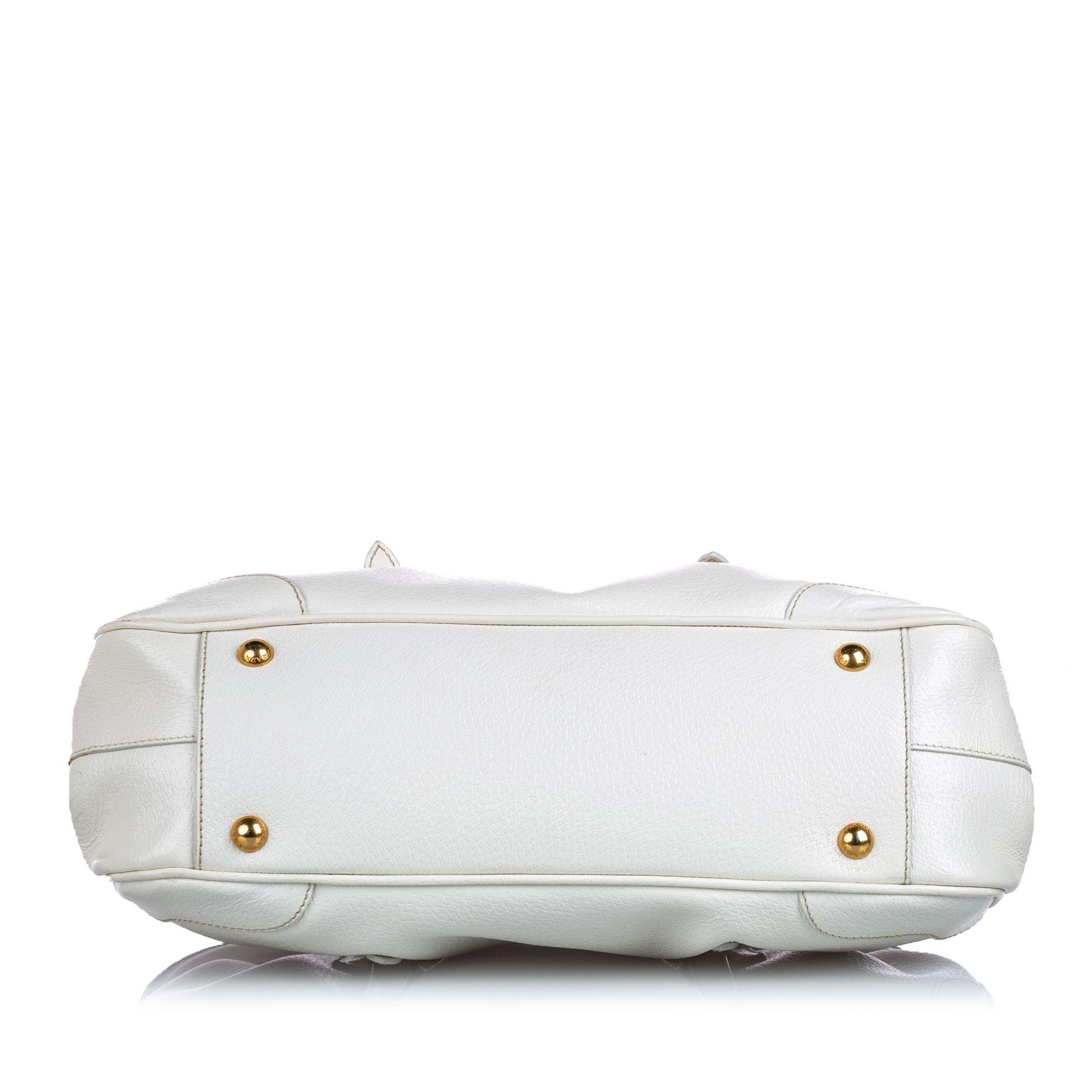 Vintage Prada Cinghiale Frame Shoulder Bag White