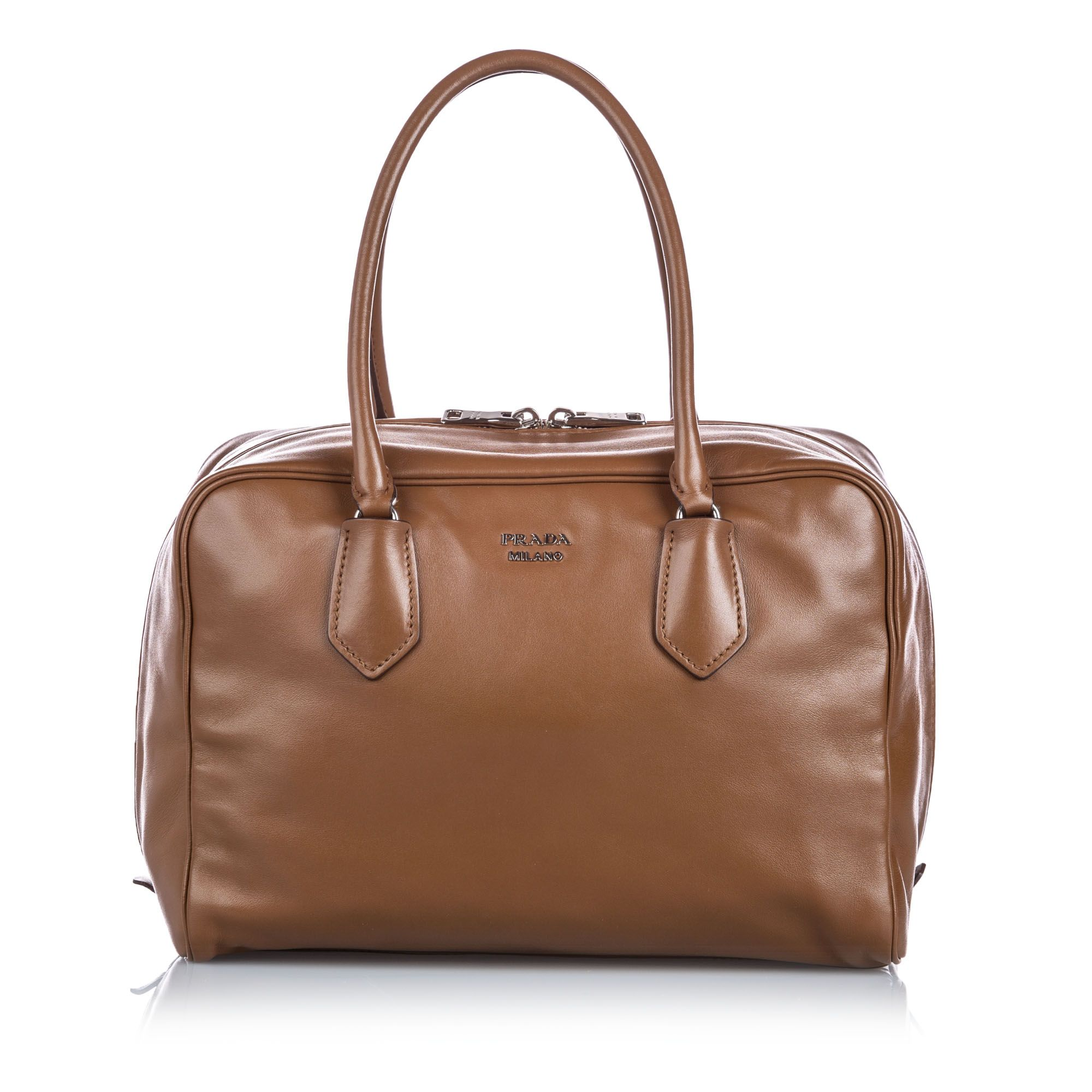 Vintage Prada Medium Soft Calf Inside Bag Brown