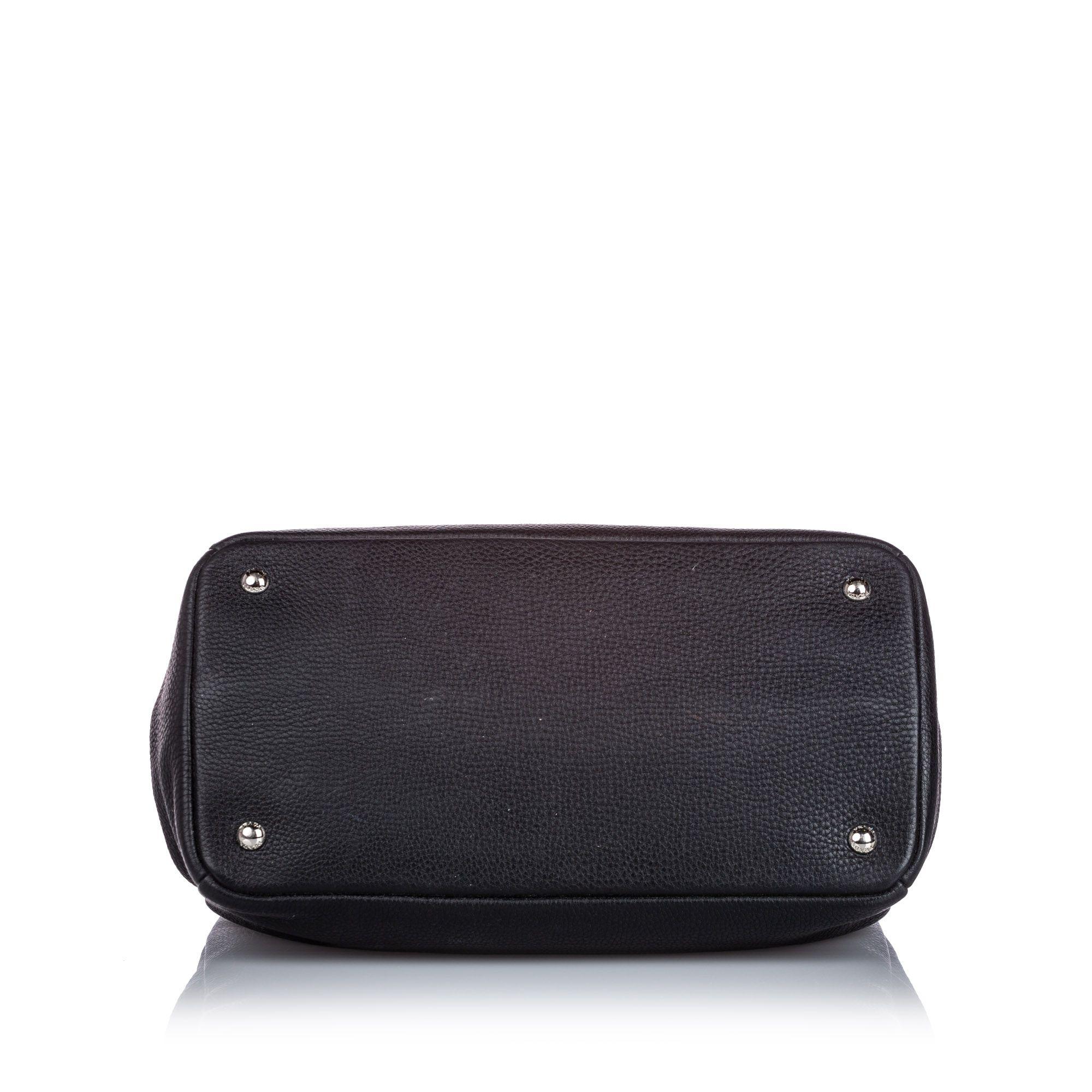 Vintage Prada Vitello Daino Leather Satchel Black