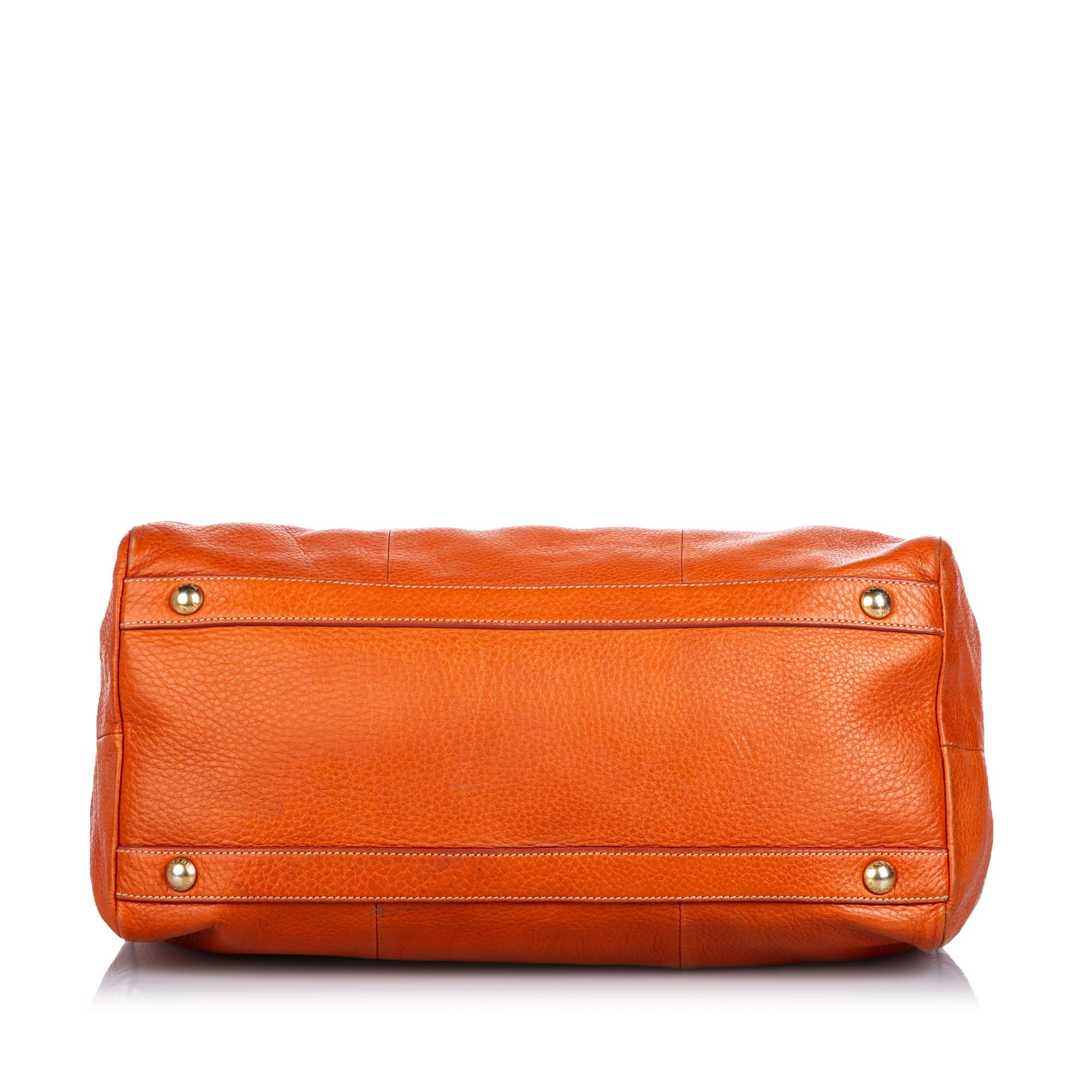 Vintage Prada Vitello Daino Satchel Orange