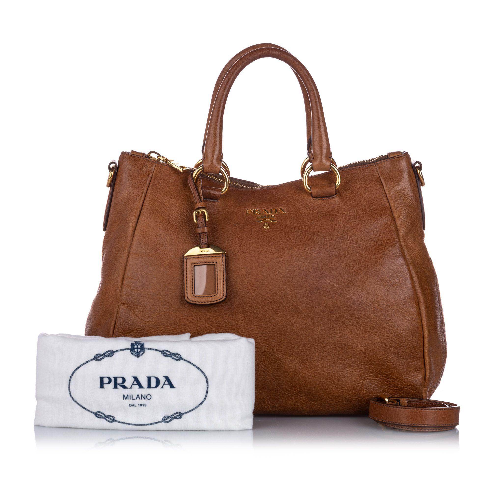 Vintage Prada Cervo Shine Satchel Brown