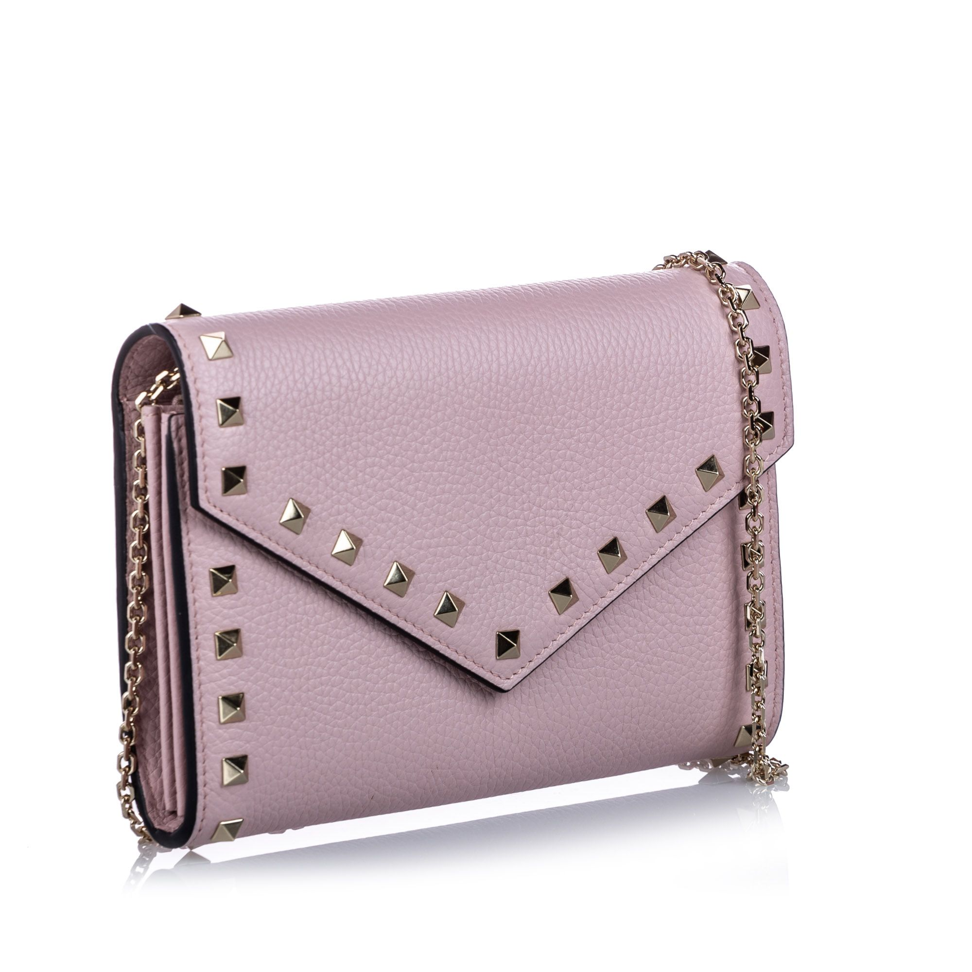 Vintage Valentino Rockstud Leather Wallet on Chain Pink