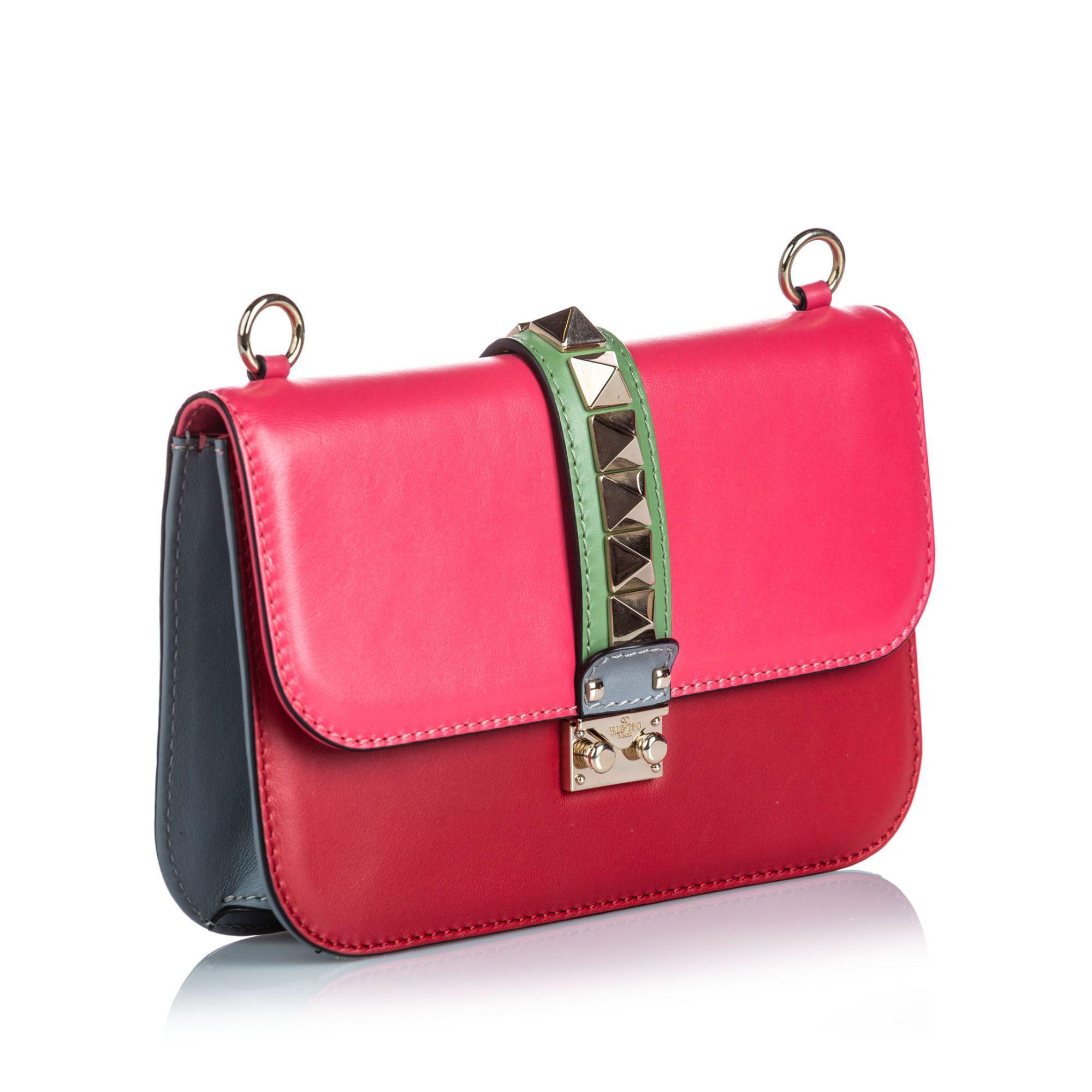Vintage Valentino Medium Leather Glam Lock Shoulder Bag Pink