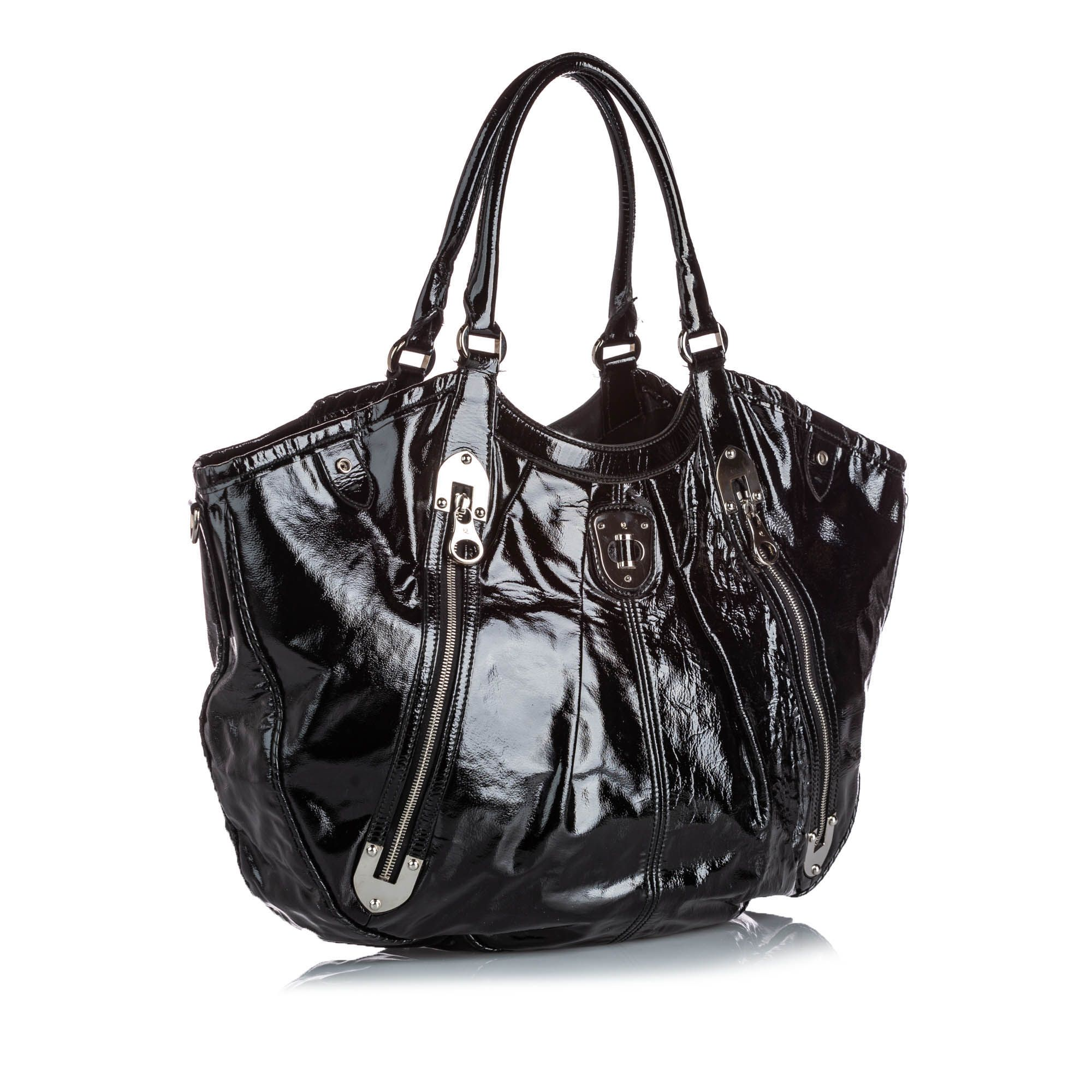 Vintage Alexander McQueen Patent Leather Tote Bag Black
