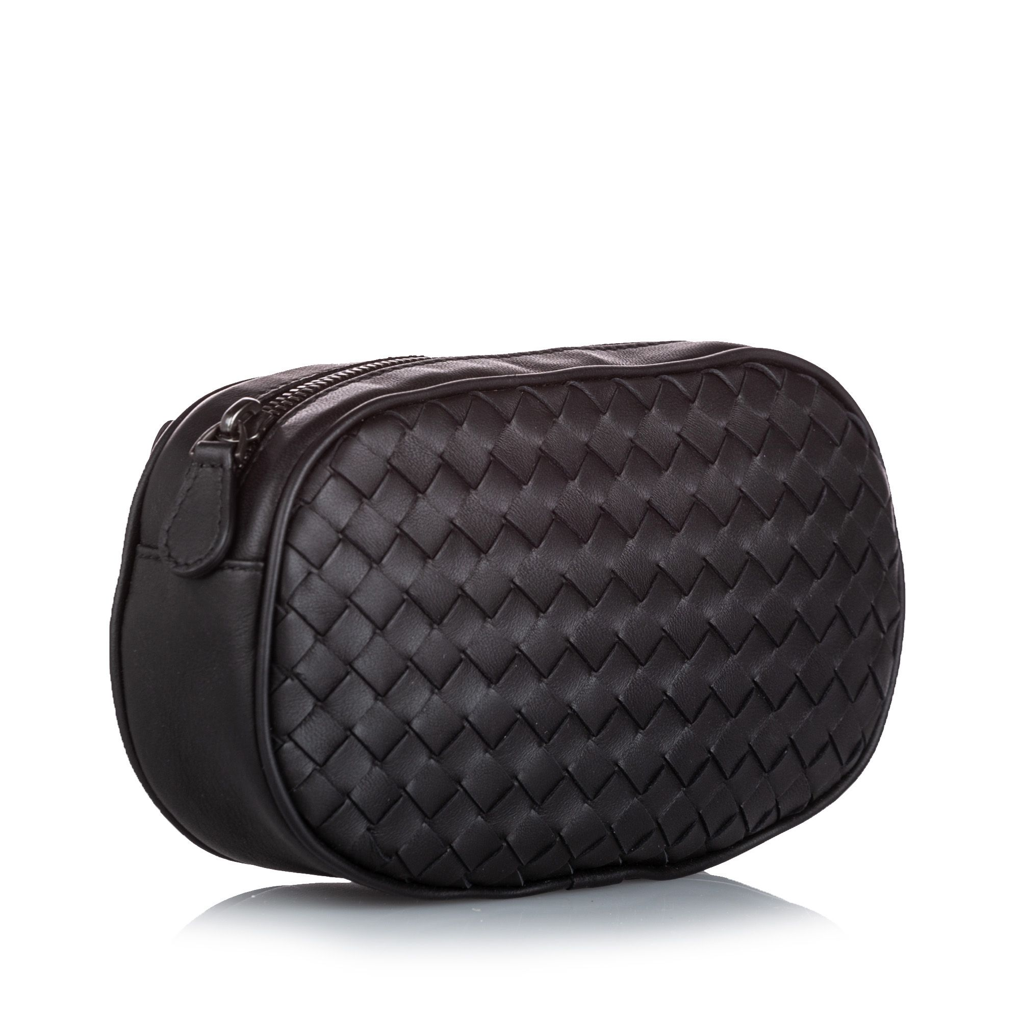 Vintage Bottega Veneta Intrecciato Leather Belt Bag Black
