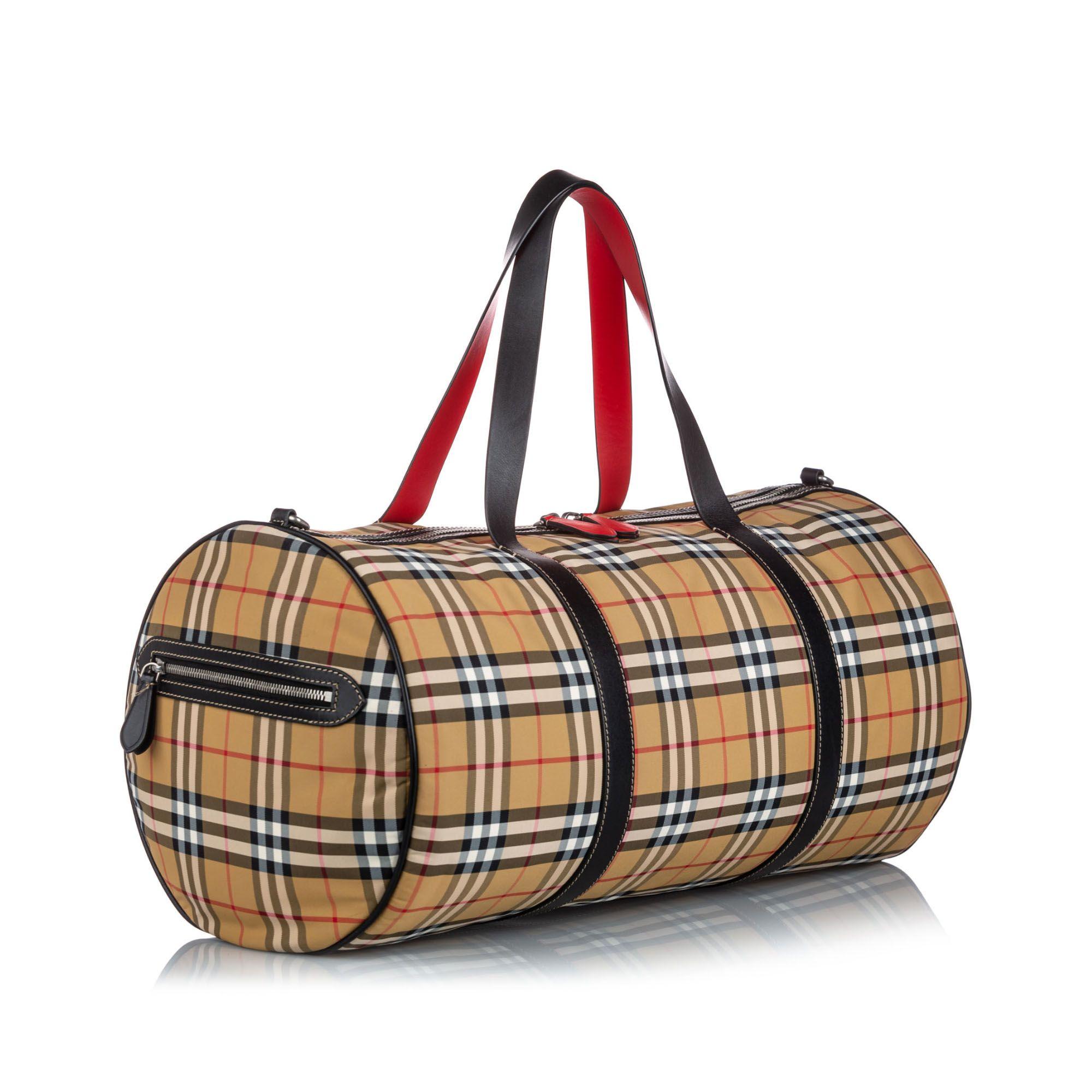 Vintage Burberry House Check Canvas Barrel Bag Brown