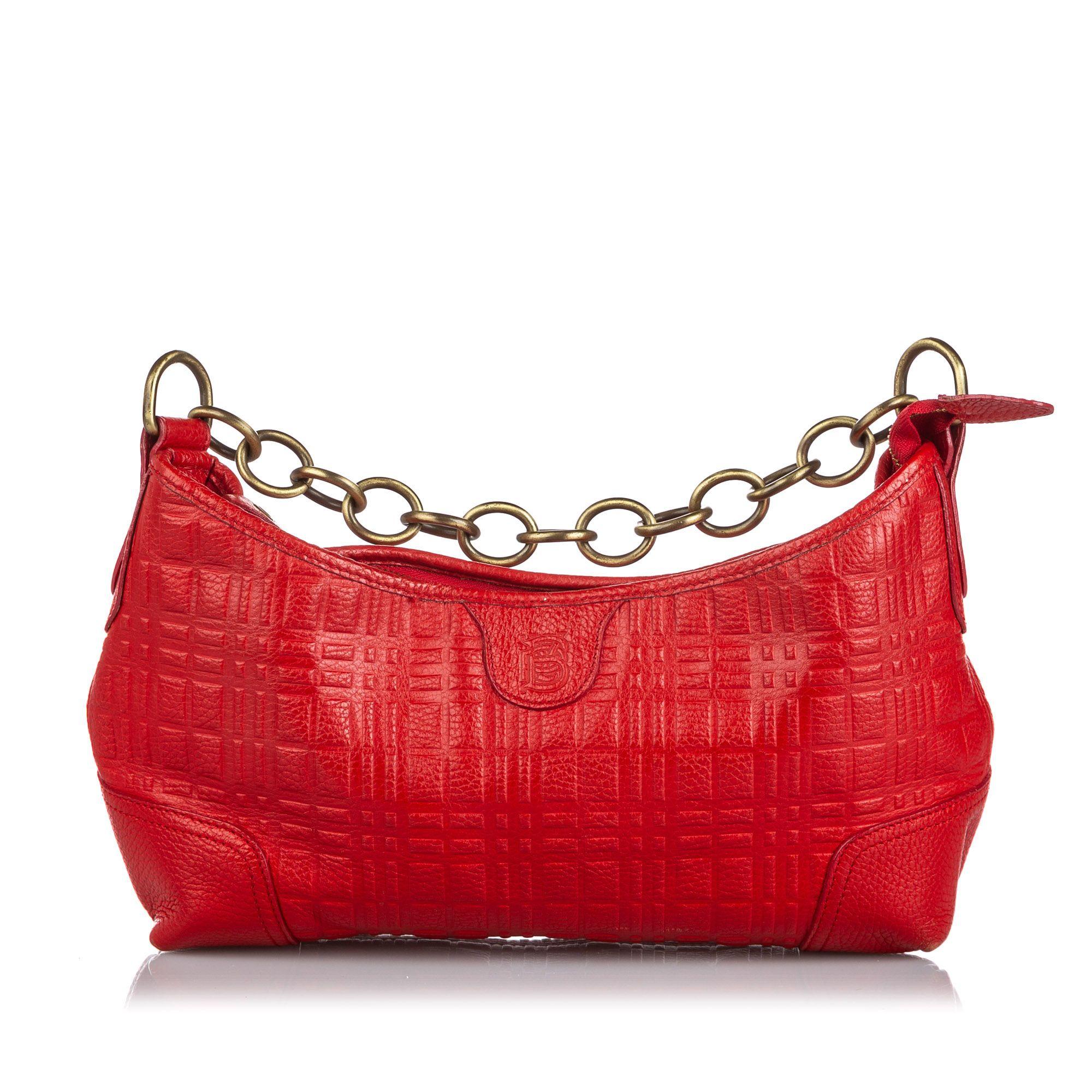 Vintage Burberry Leather Chain Shoulder Bag Red