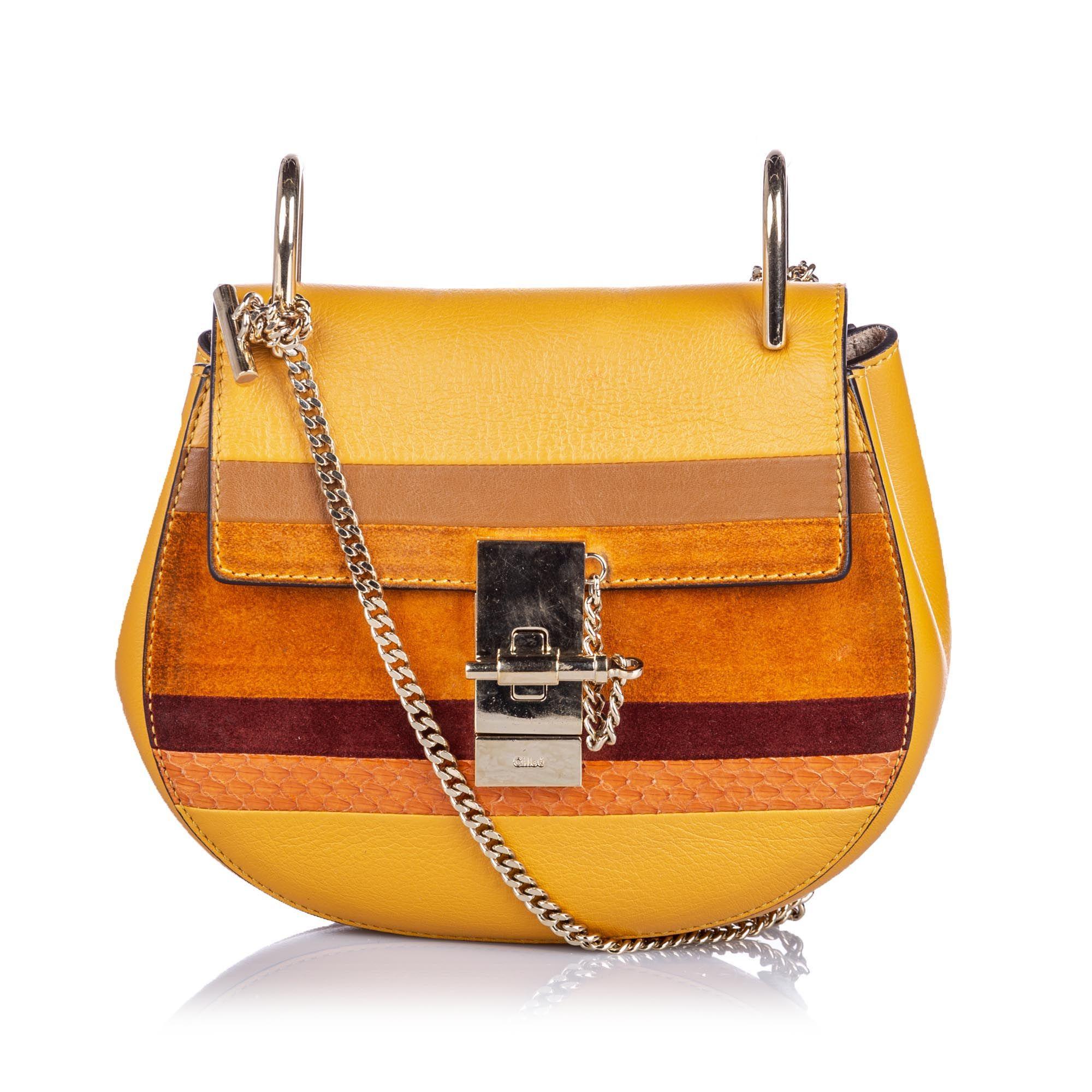 Vintage Chloe Patchwork Leather Drew Crossbody Bag Brown