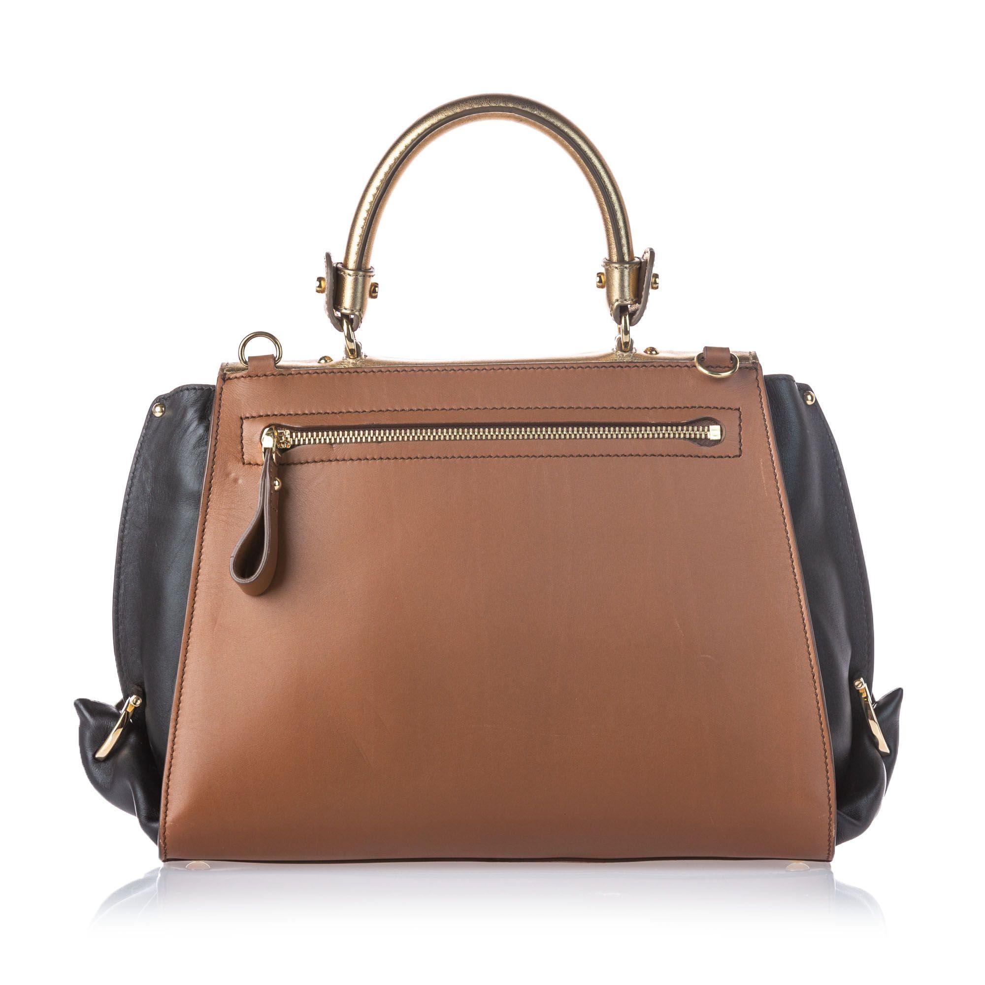 Vintage Ferragamo Tricolor Leather Sofia Satchel Brown