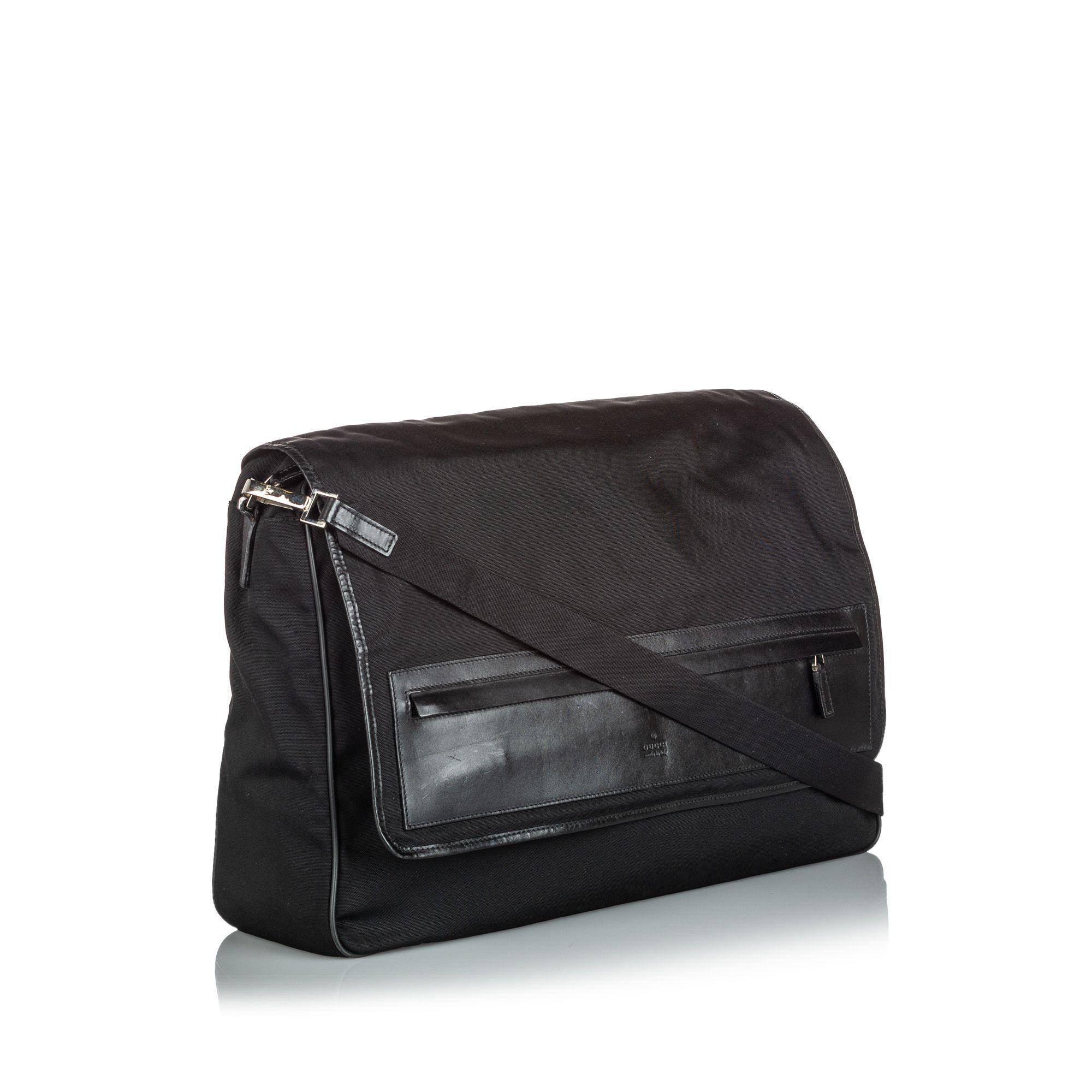 Vintage Gucci Canvas Messenger Bag Black