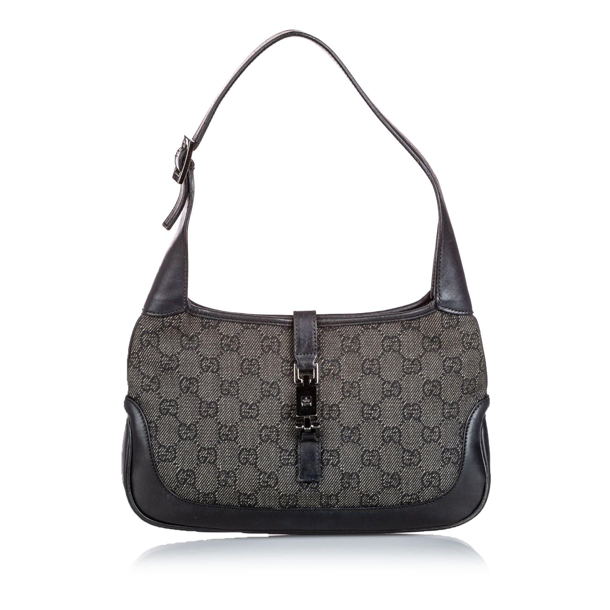Vintage Gucci GG Denim Jackie Shoulder Bag Gray