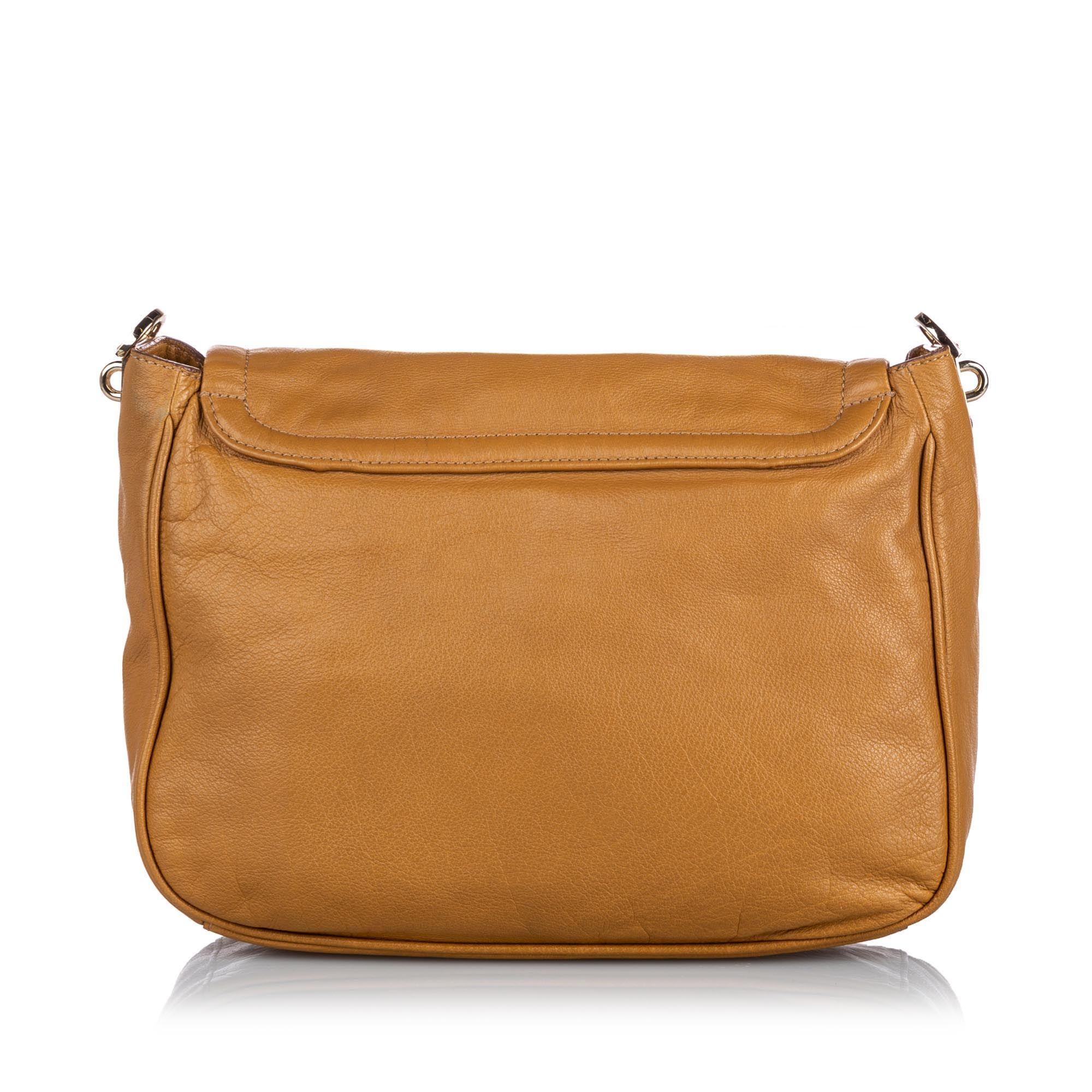 Vintage Mulberry Leather Crossbody Bag Brown