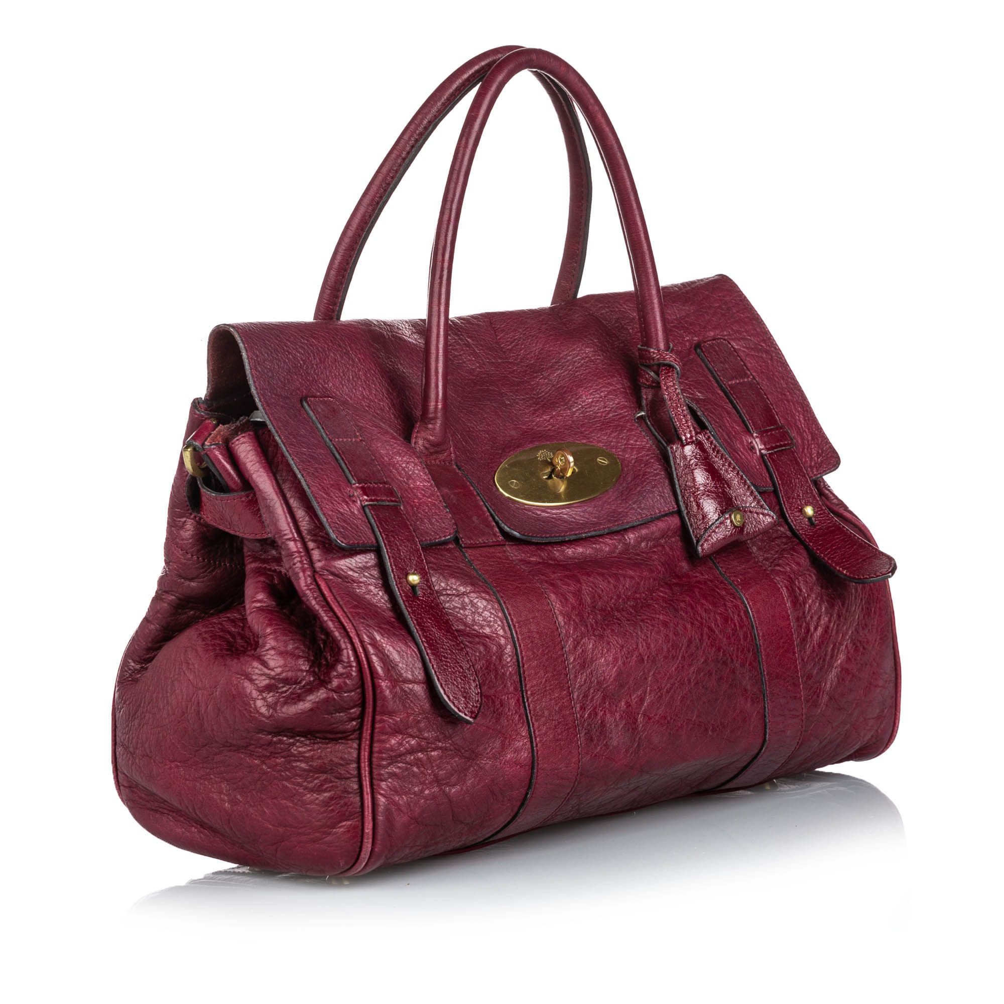 Vintage Mulberry Leather Bayswater Satchel Red