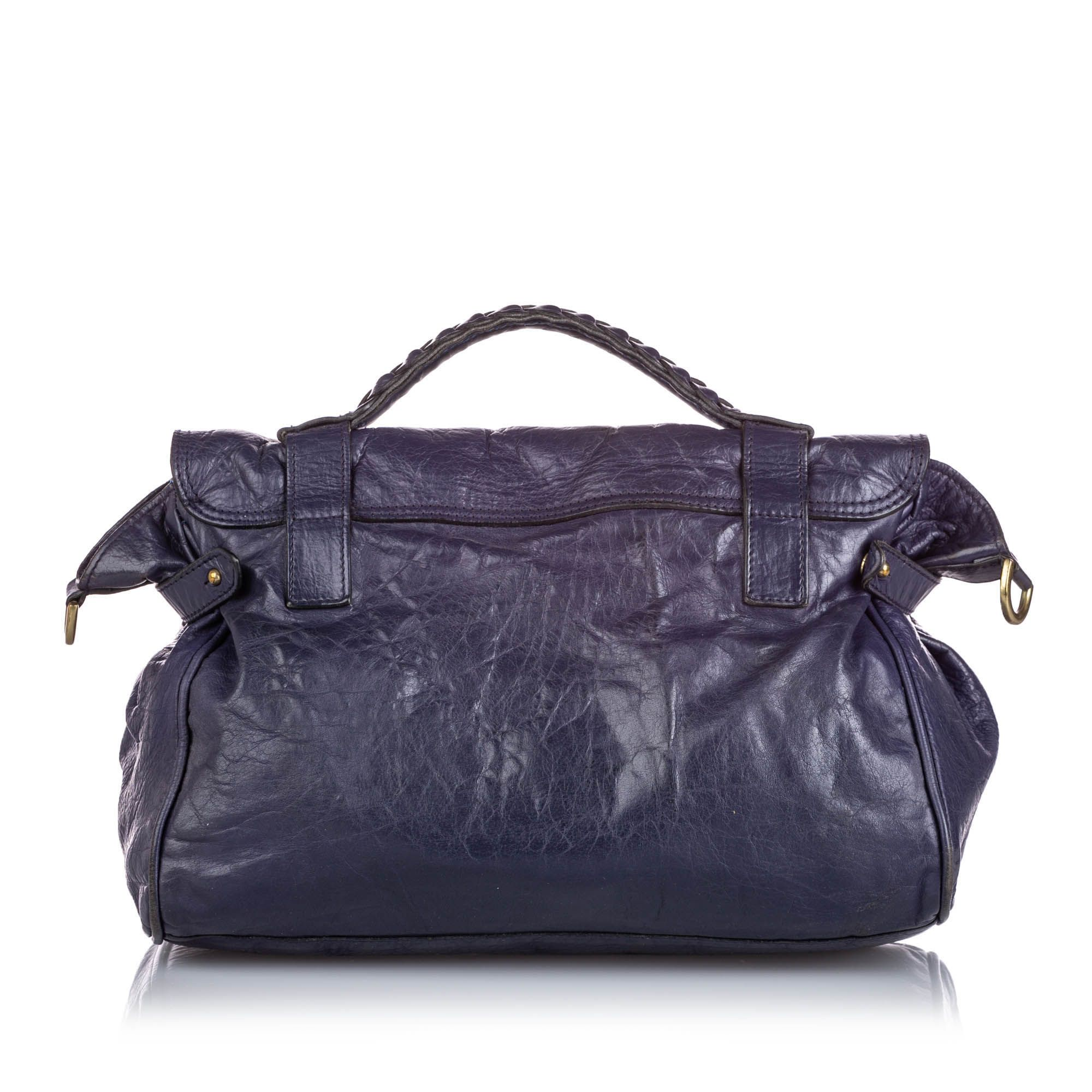 Vintage Mulberry Leather Alexa Satchel Blue