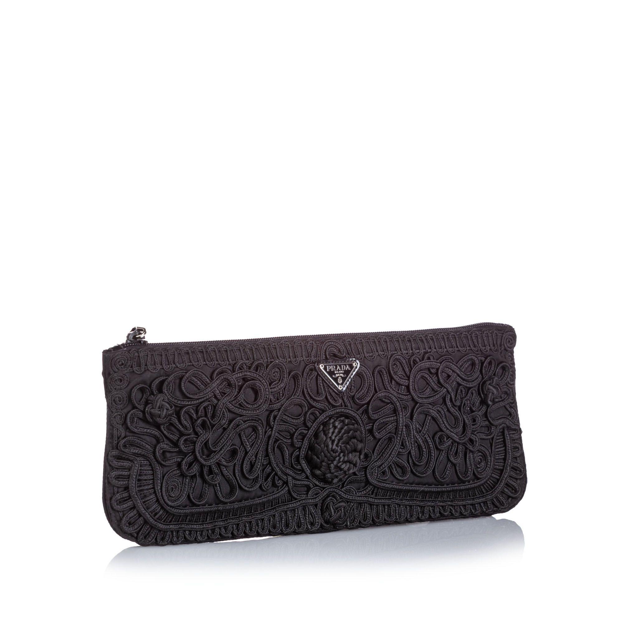 Vintage Prada Tessuto Passamaneria Clutch Black
