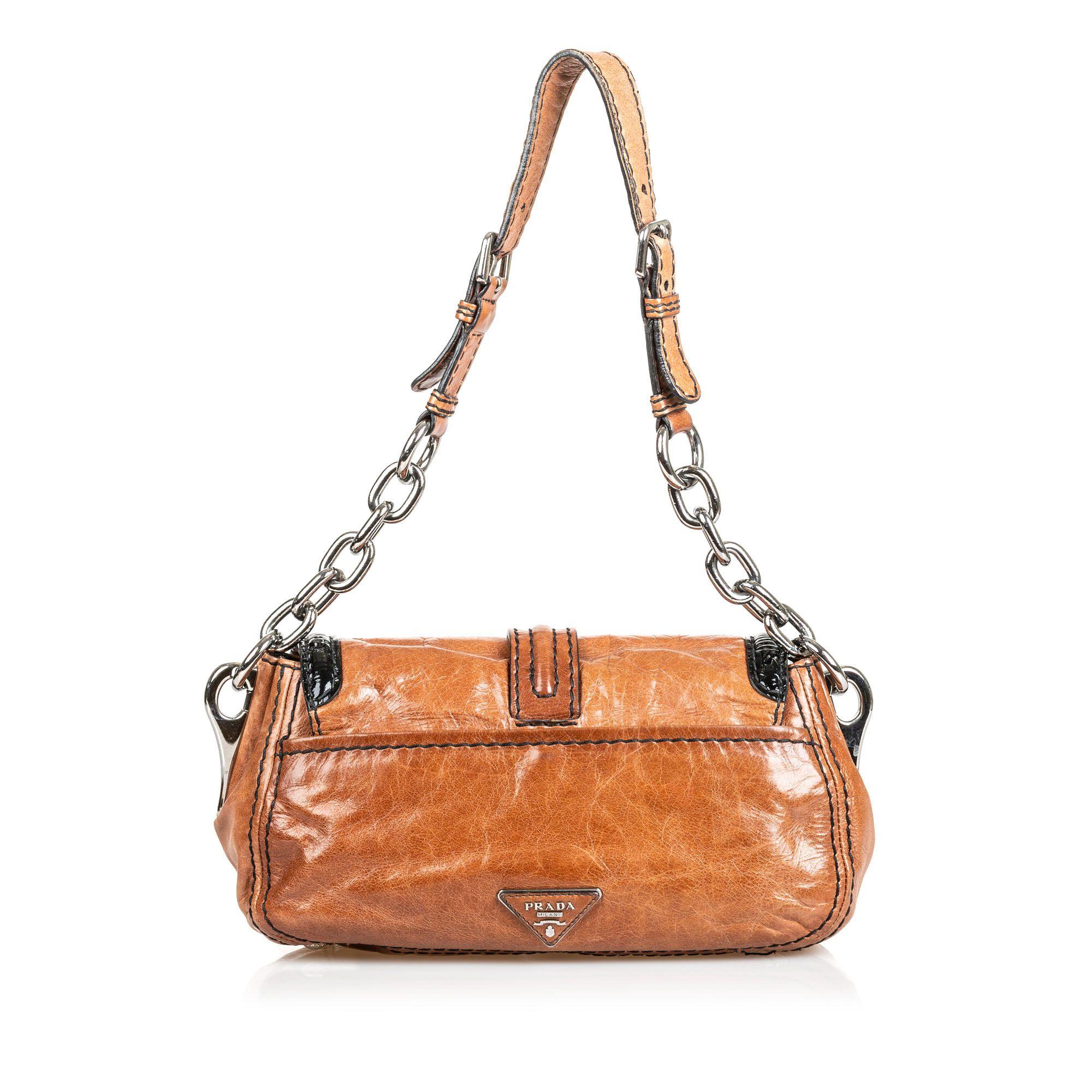 Vintage Prada Leather Shoulder Bag Brown