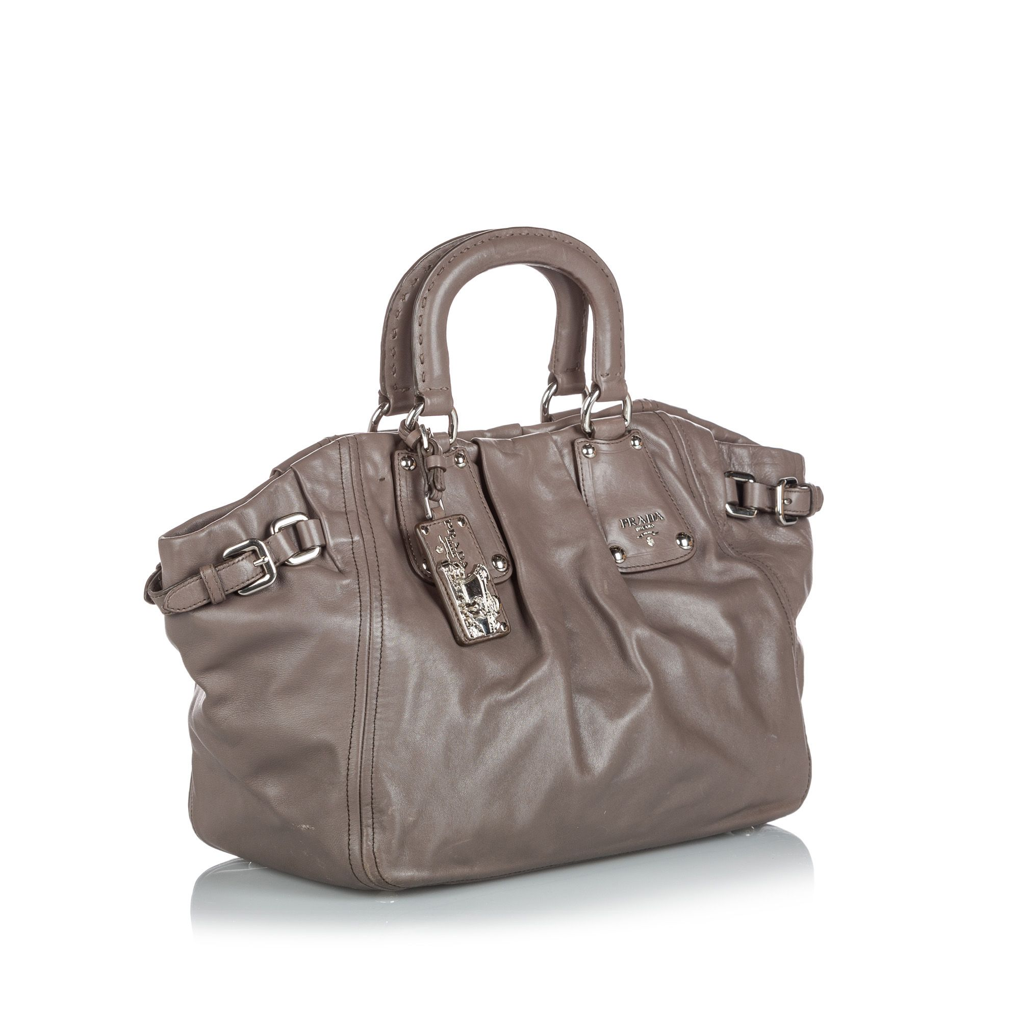 Vintage Prada Leather Satchel Gray