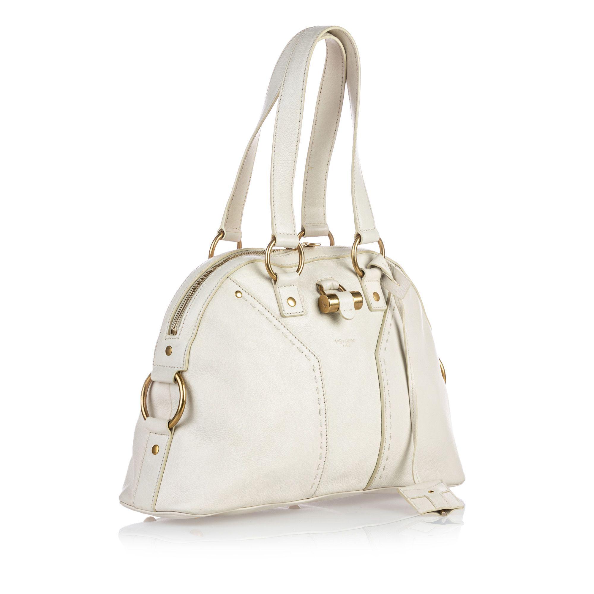 Vintage YSL Leather Muse Shoulder Bag White