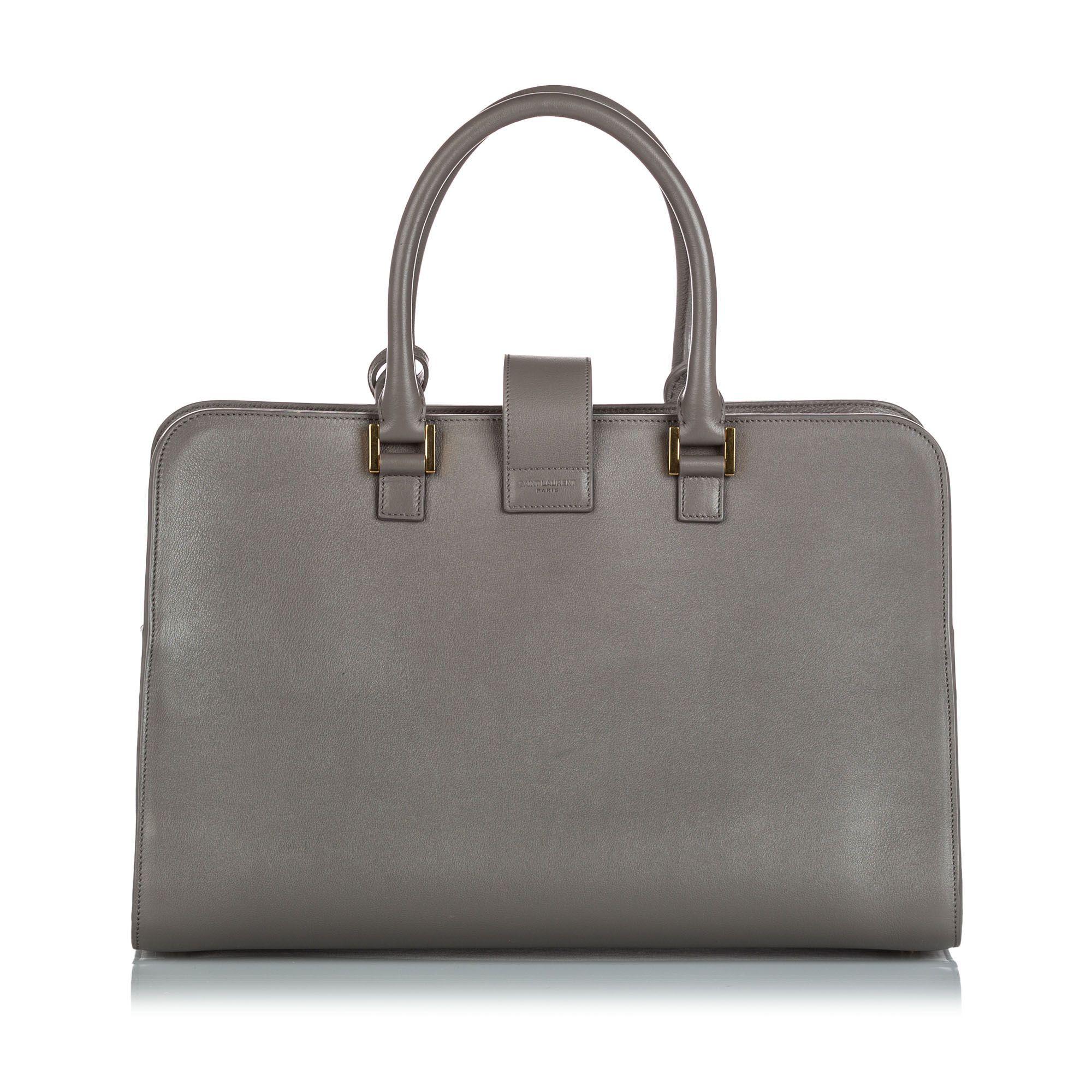Vintage YSL Leather Monogram Cabas Satchel Gray