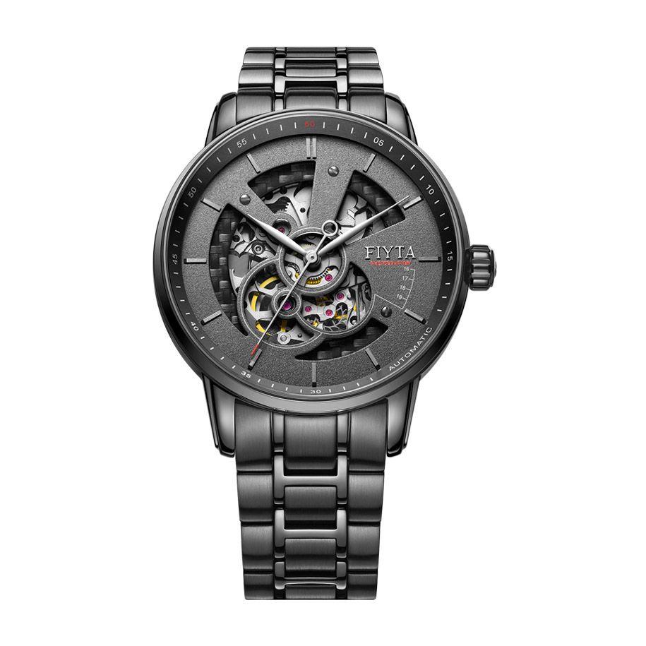 Fiyta Mens Automatic Black Skeleton Watch