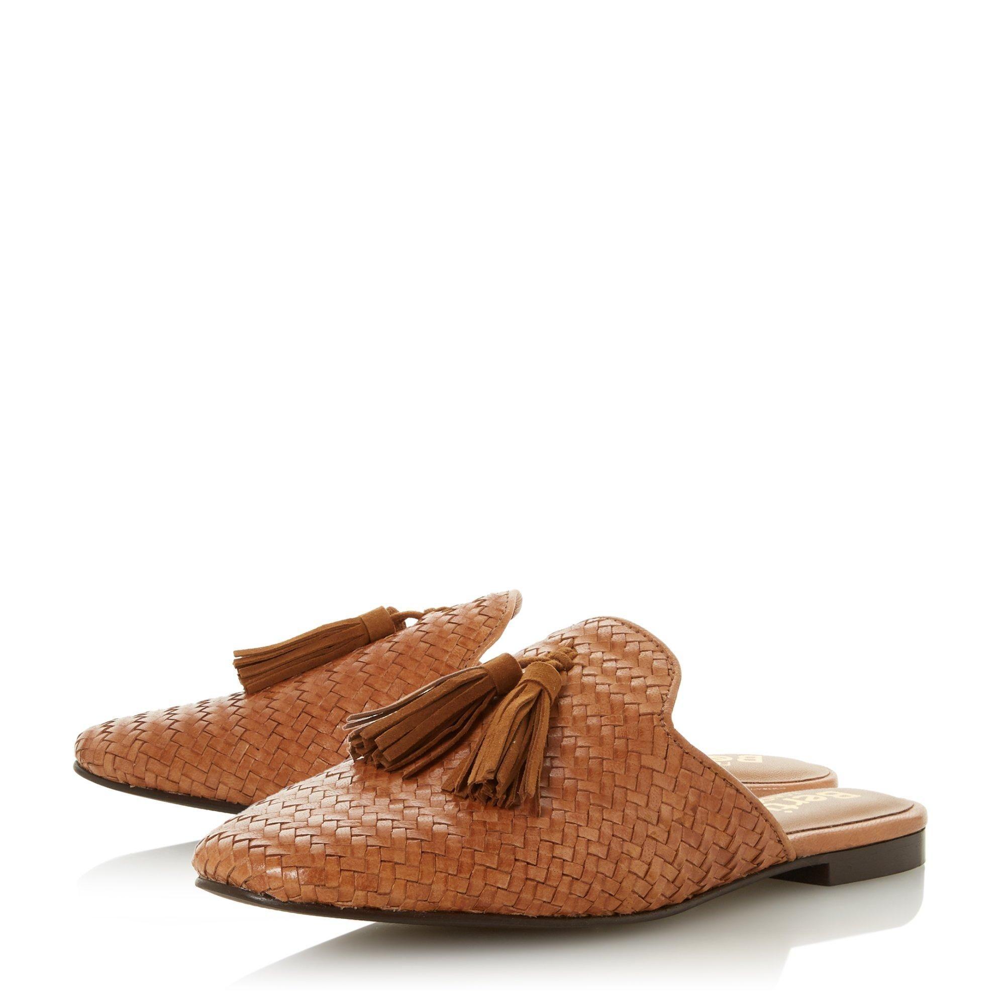 Bertie Ladies GIANAA Woven Tassel Slip On Mule Shoes