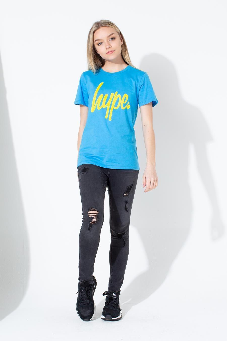 Hype Blue Large Script Kids T-Shirt