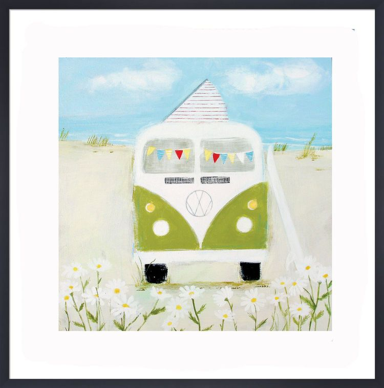 Green Camper Art Print by Hannah Cole